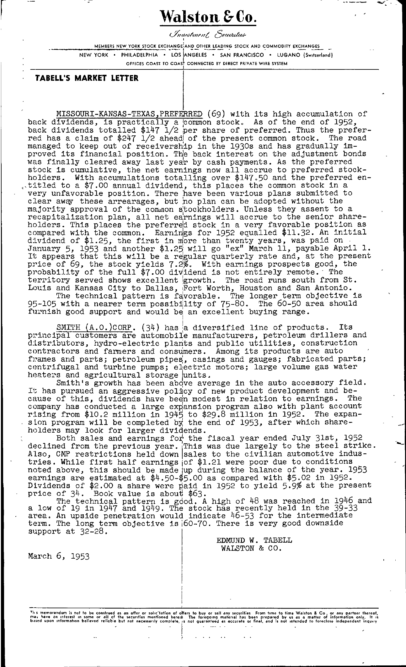 Tabell's Market Letter - March 06, 1953