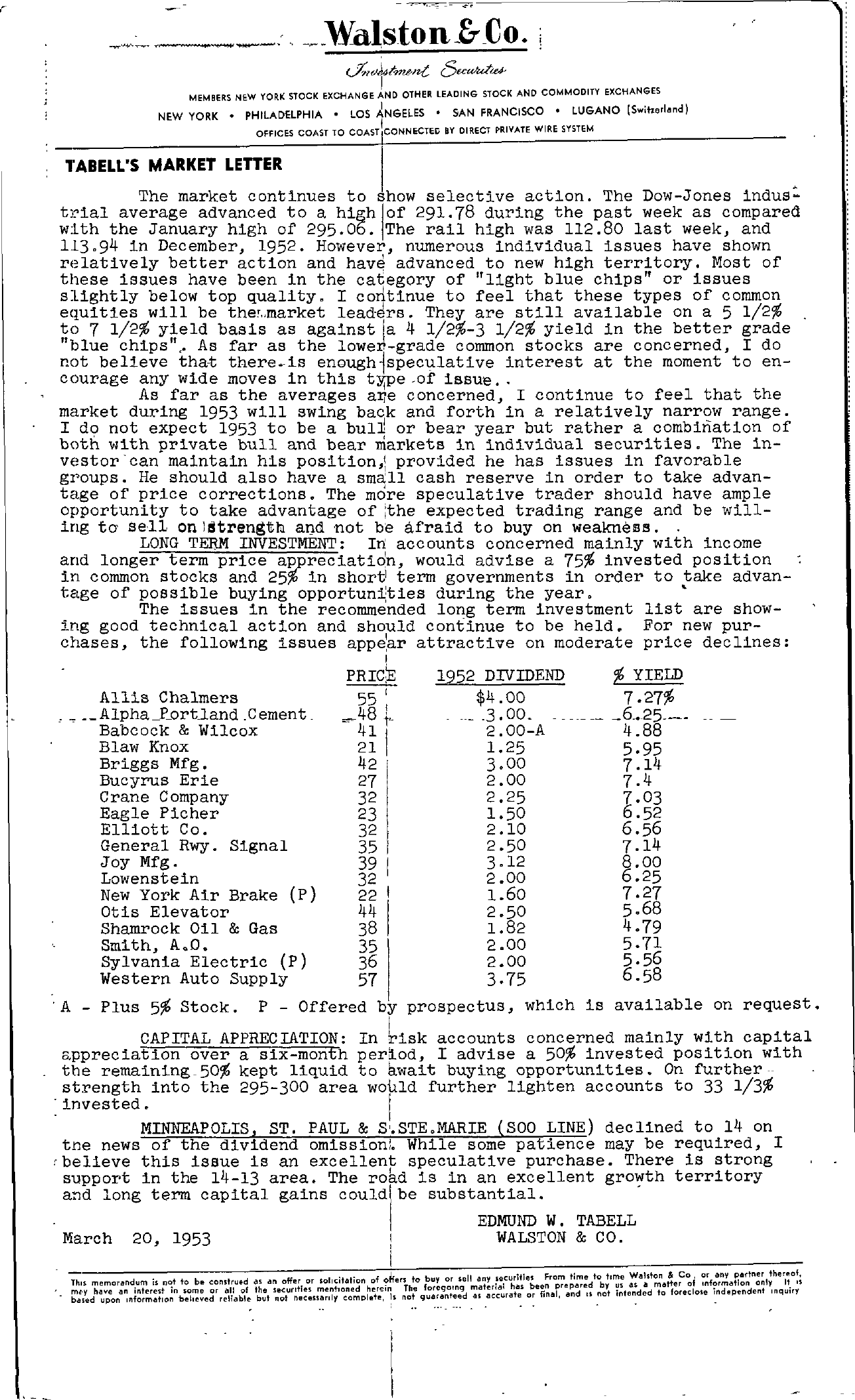 Tabell's Market Letter - March 20, 1953
