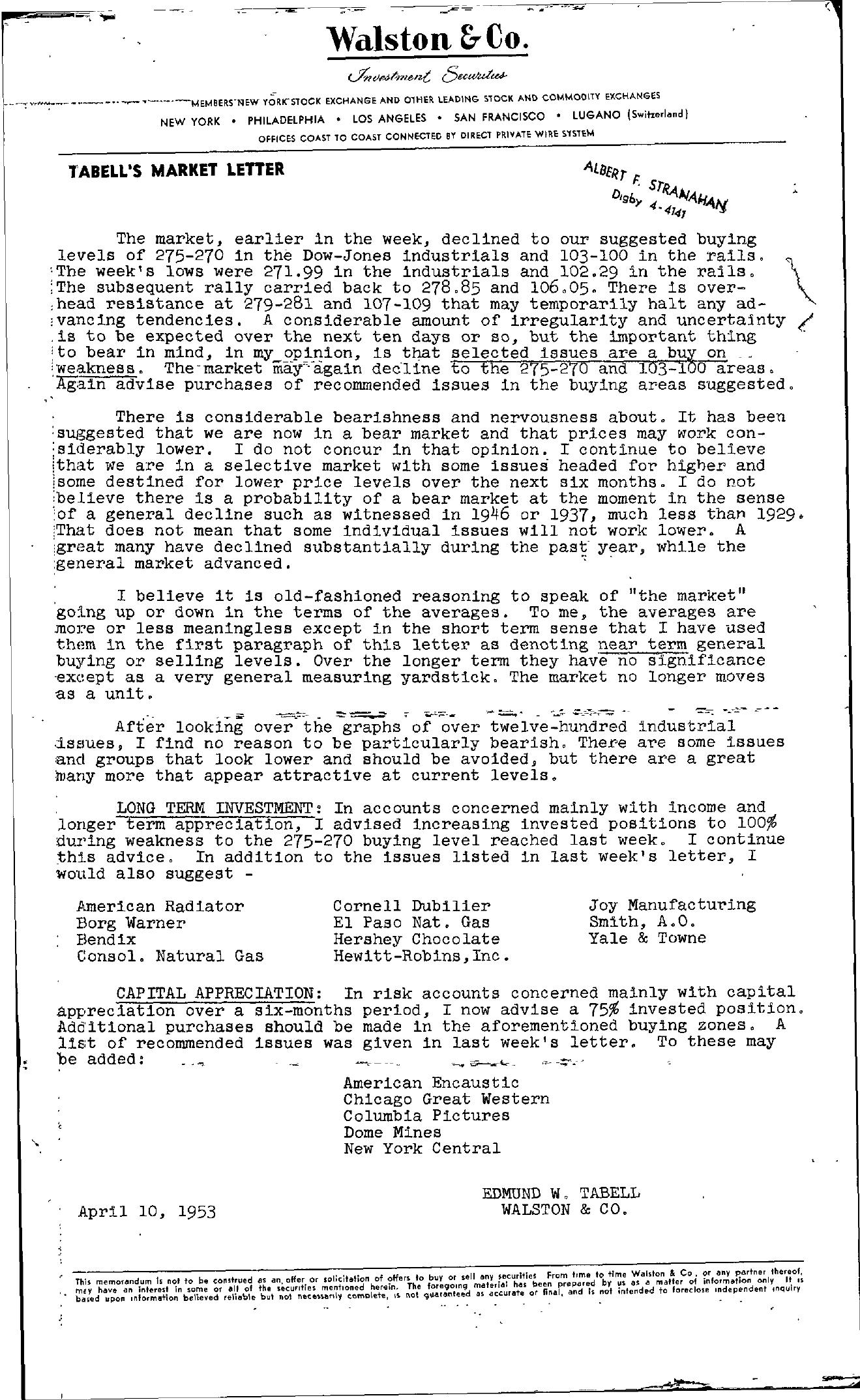 Tabell's Market Letter - April 10, 1953
