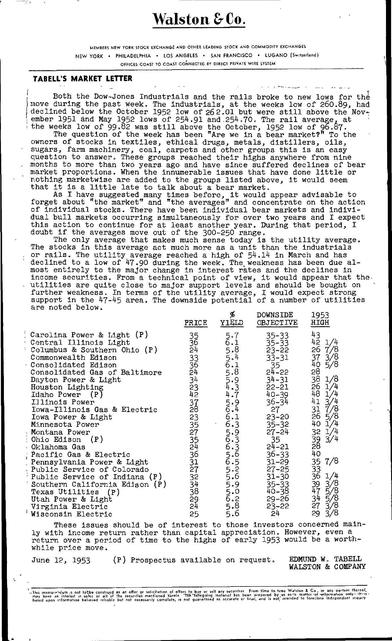 Tabell's Market Letter - June 12, 1953