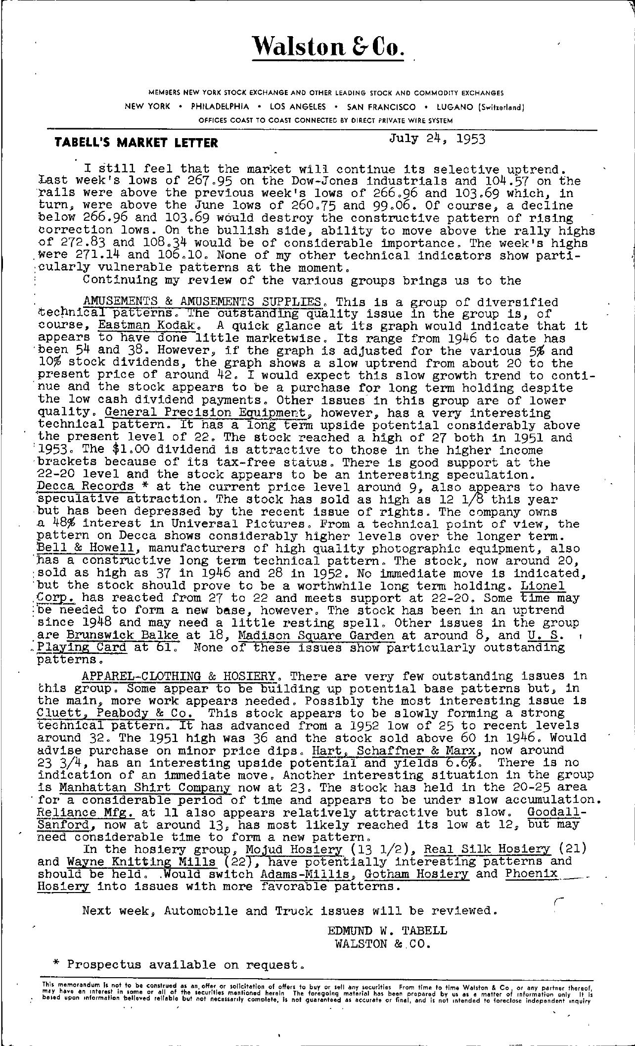 Tabell's Market Letter - July 24, 1953