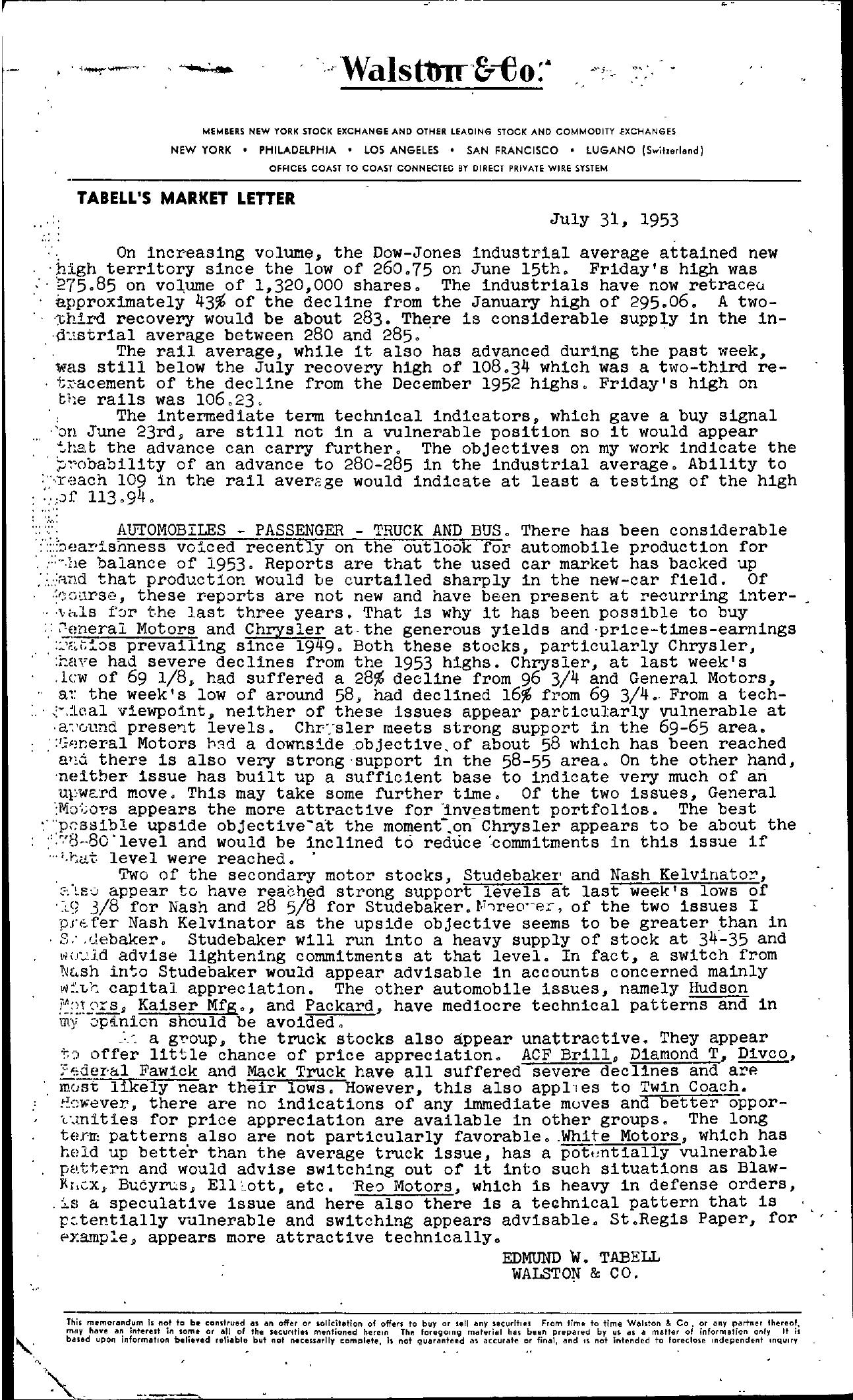 Tabell's Market Letter - July 31, 1953