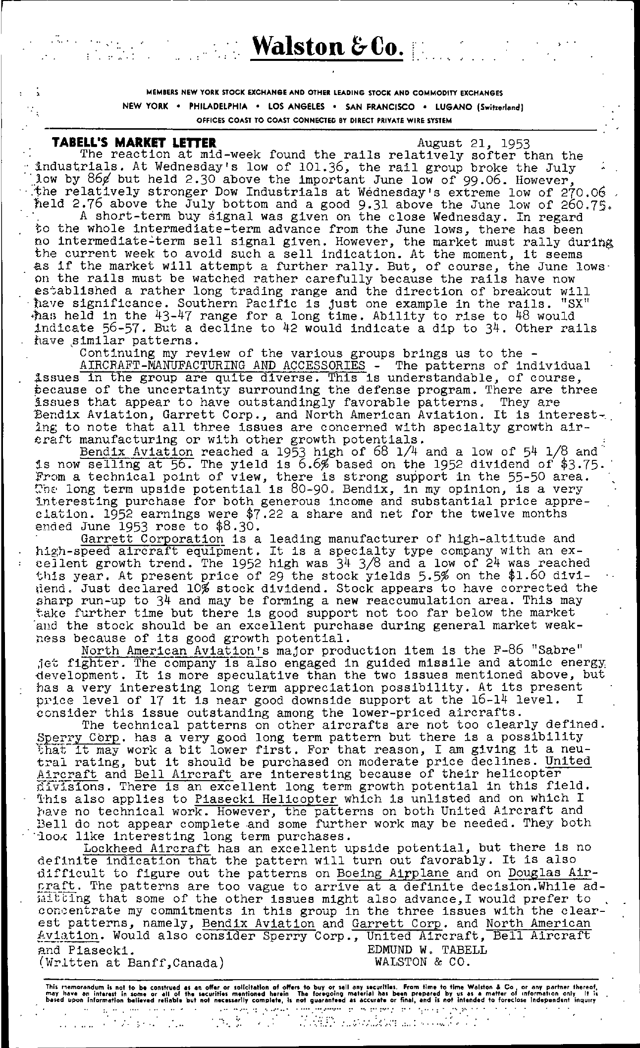 Tabell's Market Letter - August 21, 1953