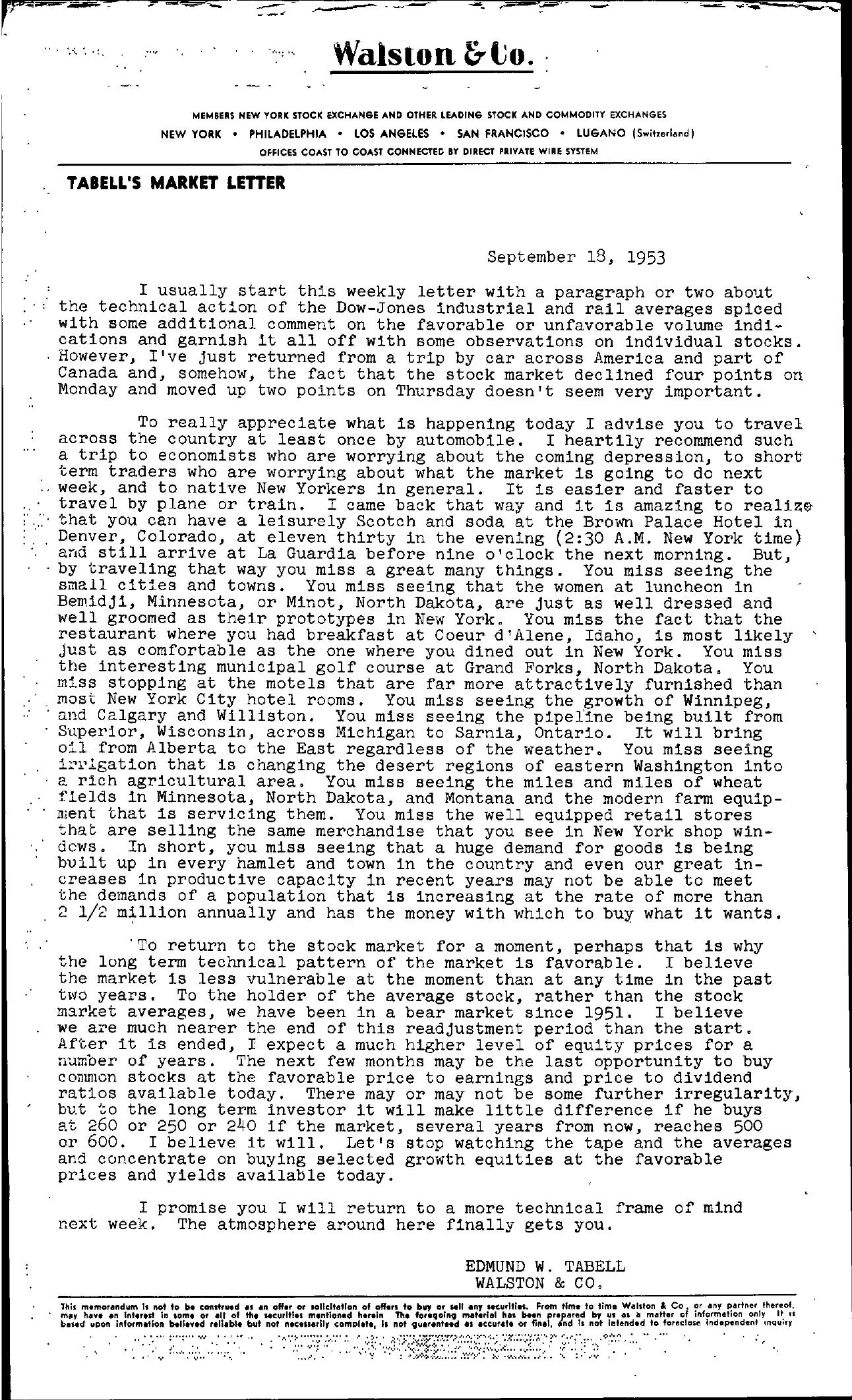 Tabell's Market Letter - September 18, 1953