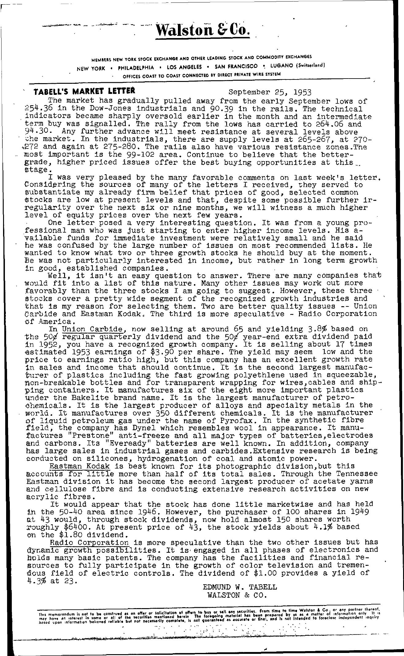 Tabell's Market Letter - September 25, 1953