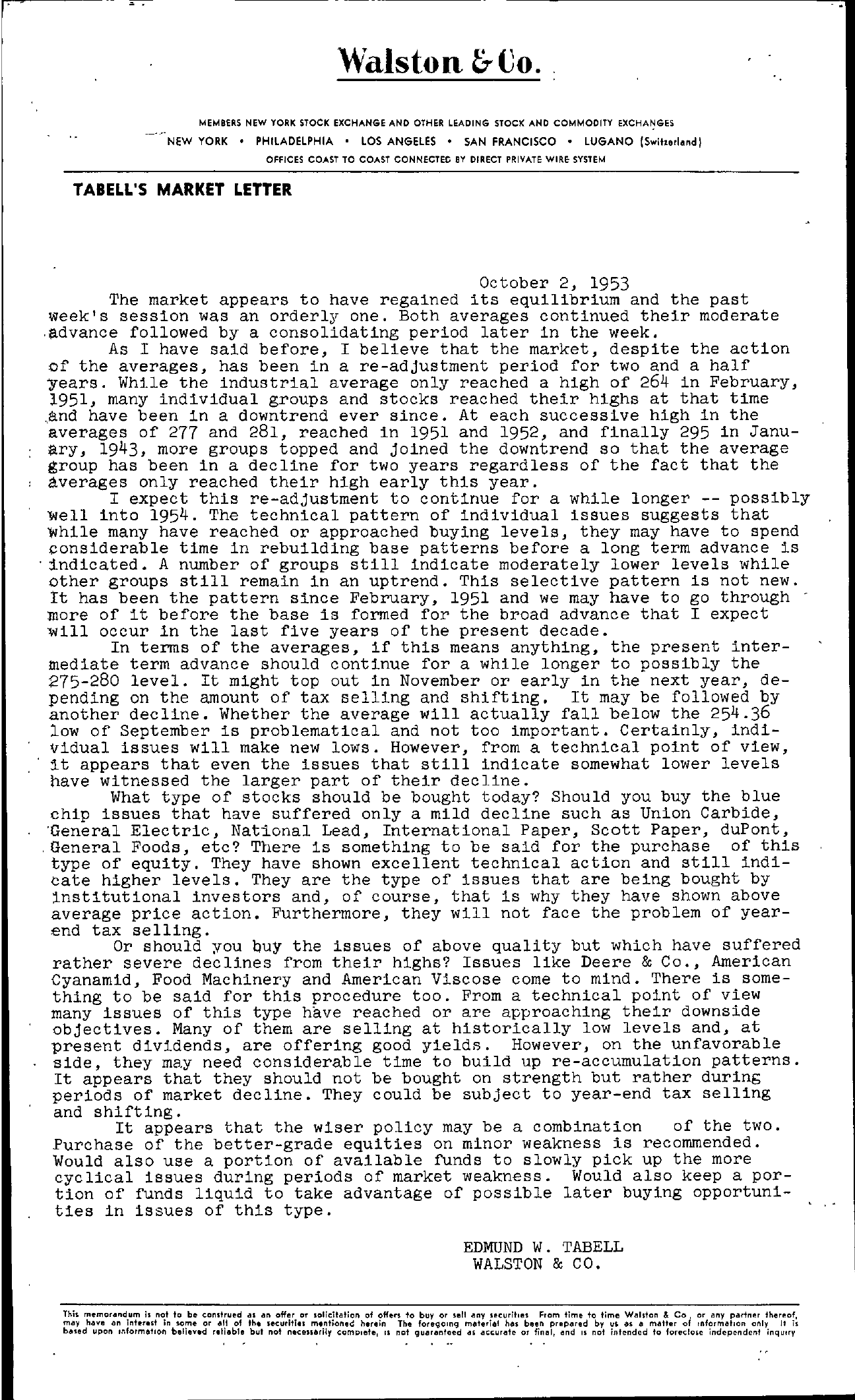 Tabell's Market Letter - October 02, 1953