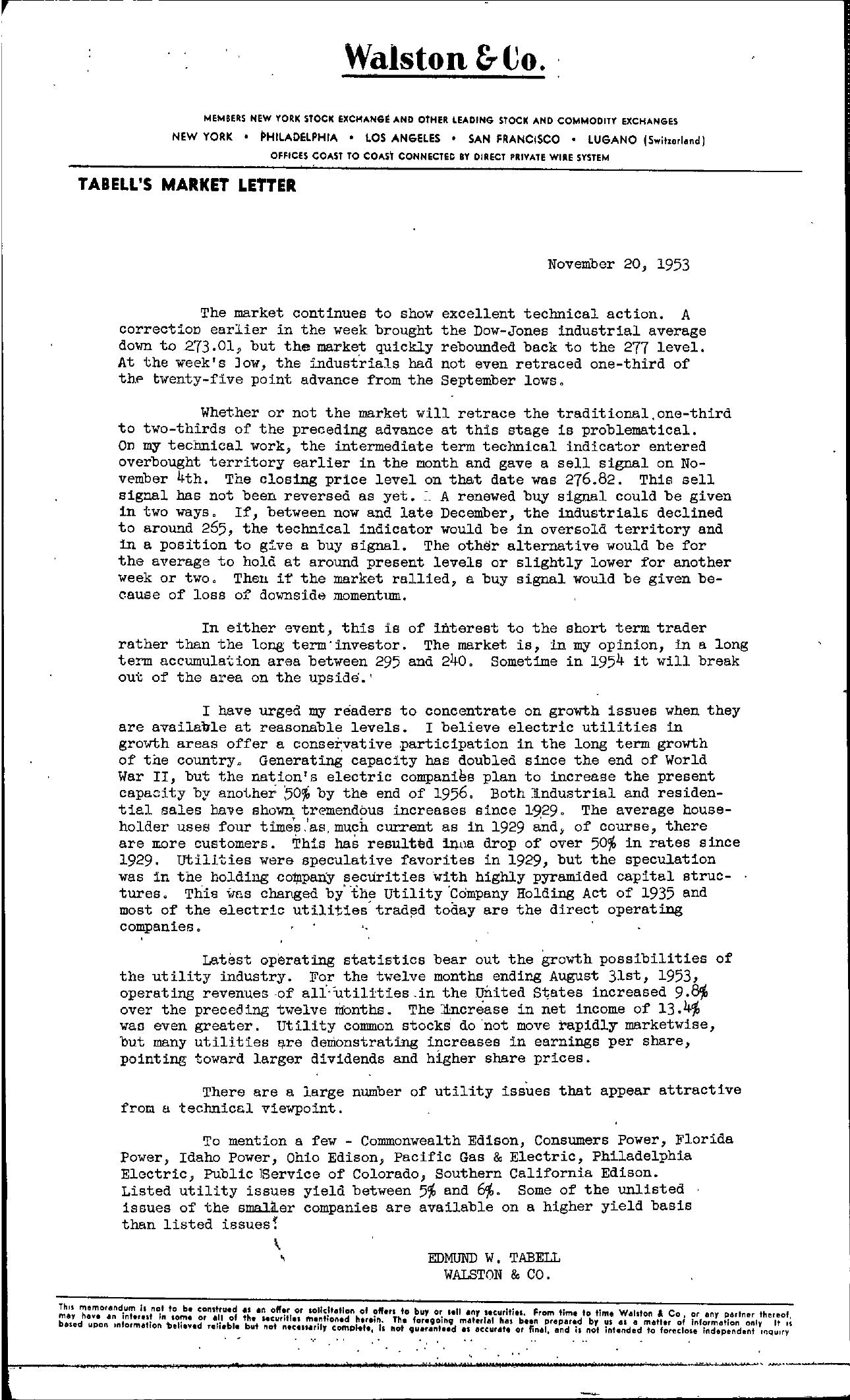 Tabell's Market Letter - November 20, 1953