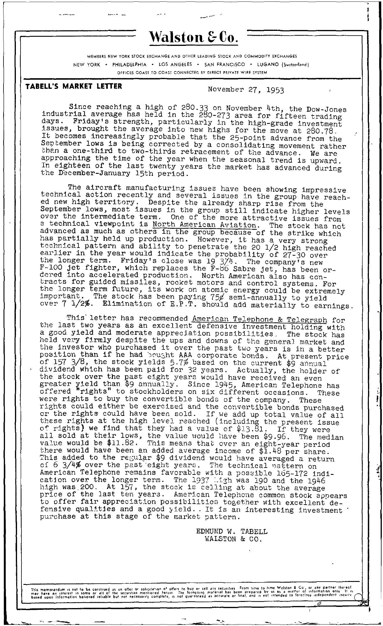 Tabell's Market Letter - November 27, 1953