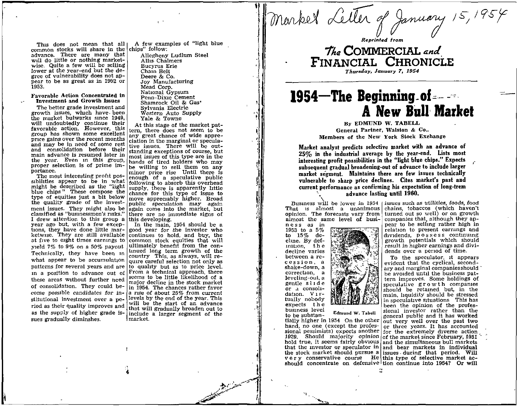 Tabell's Market Letter - January 15, 1954 page 1