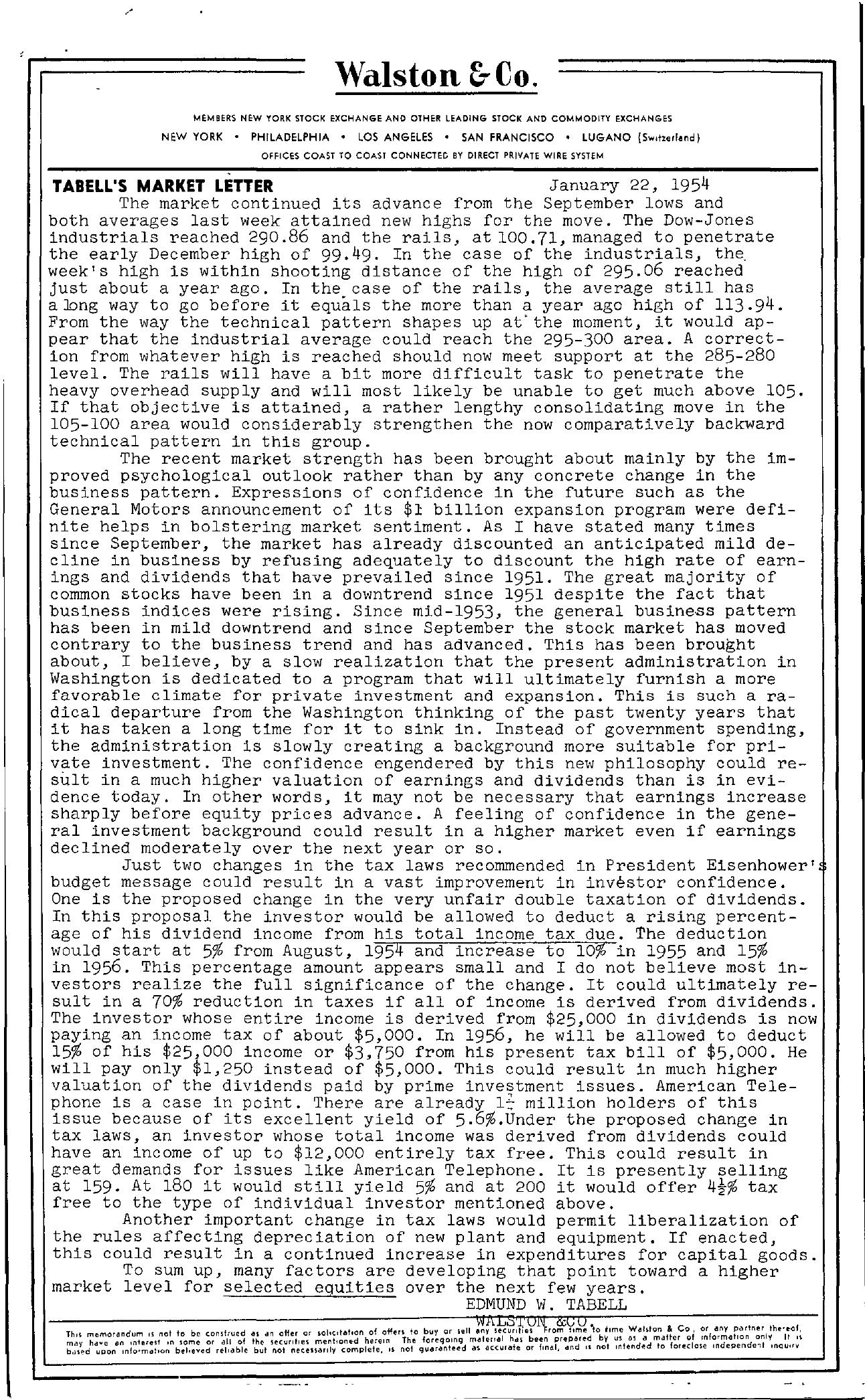 Tabell's Market Letter - January 22, 1954