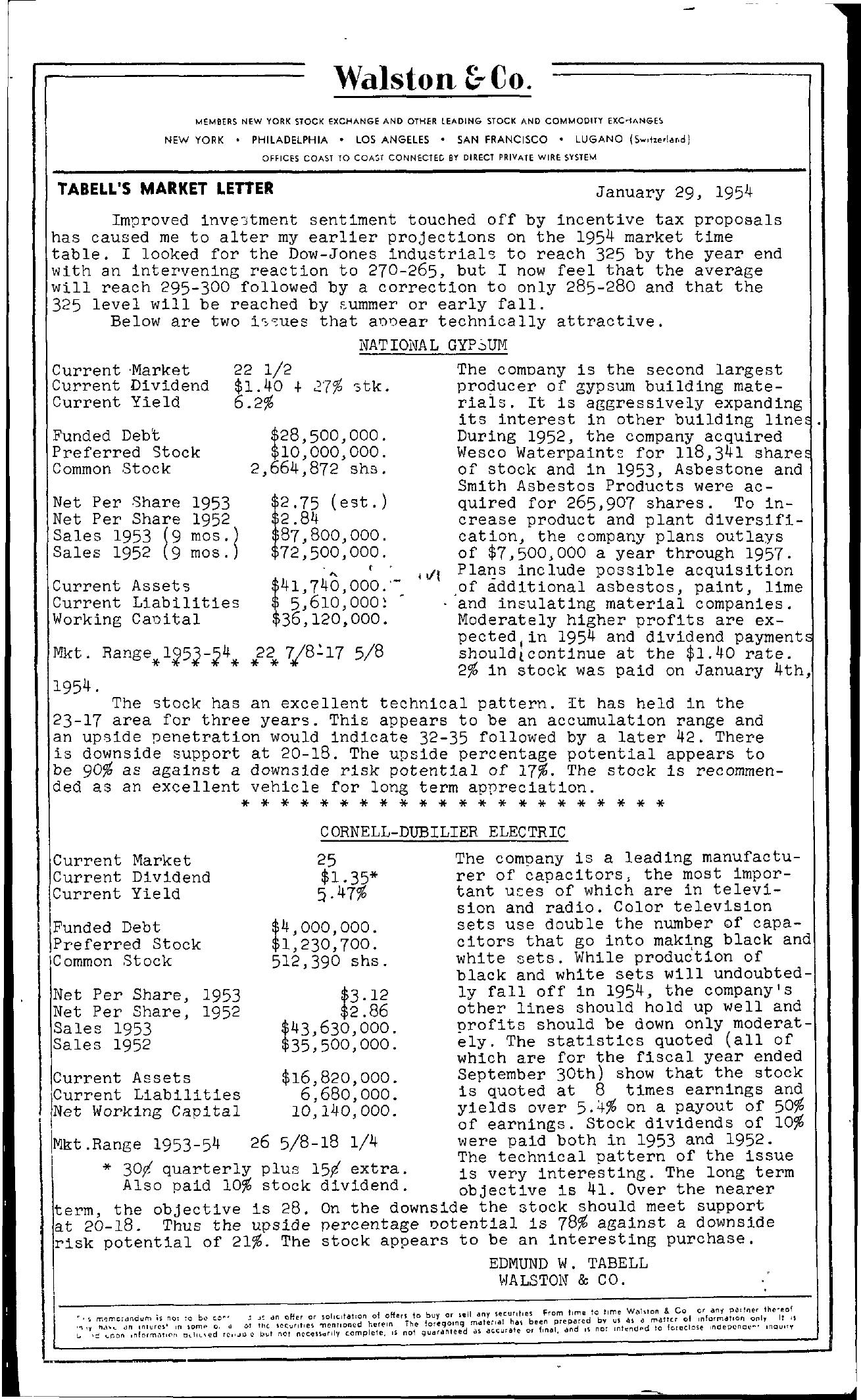 Tabell's Market Letter - January 29, 1954