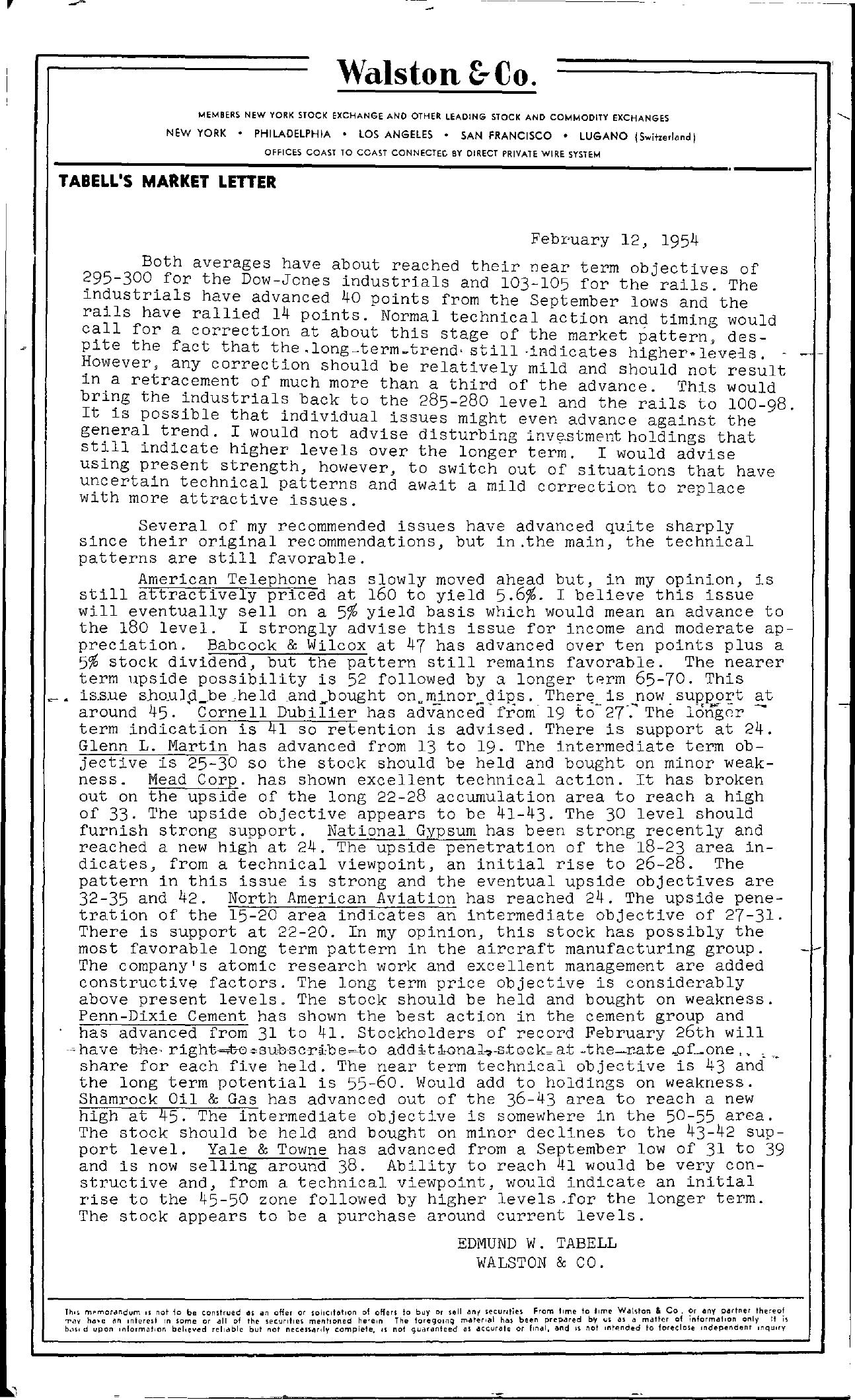 Tabell's Market Letter - February 12, 1954