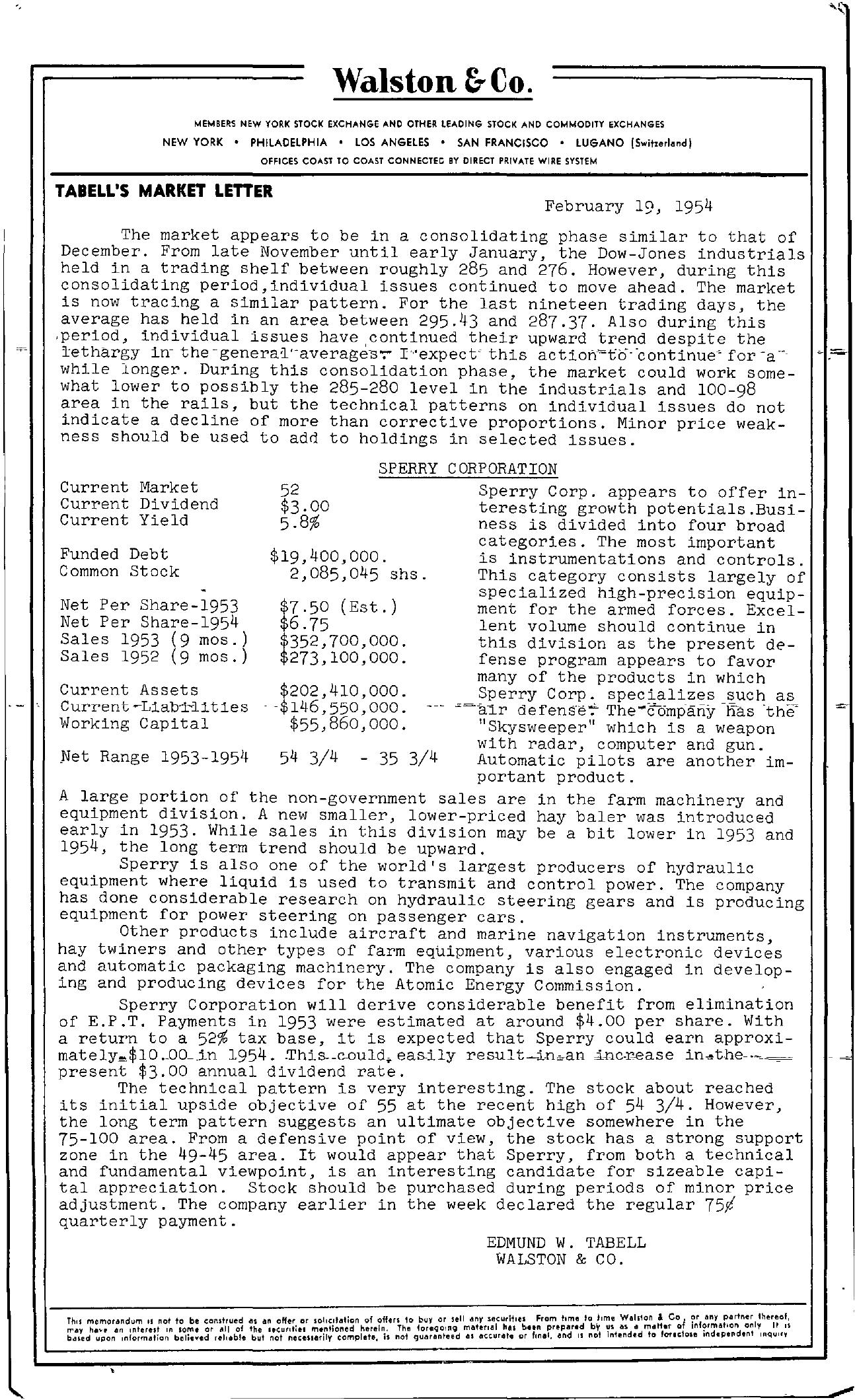 Tabell's Market Letter - February 19, 1954