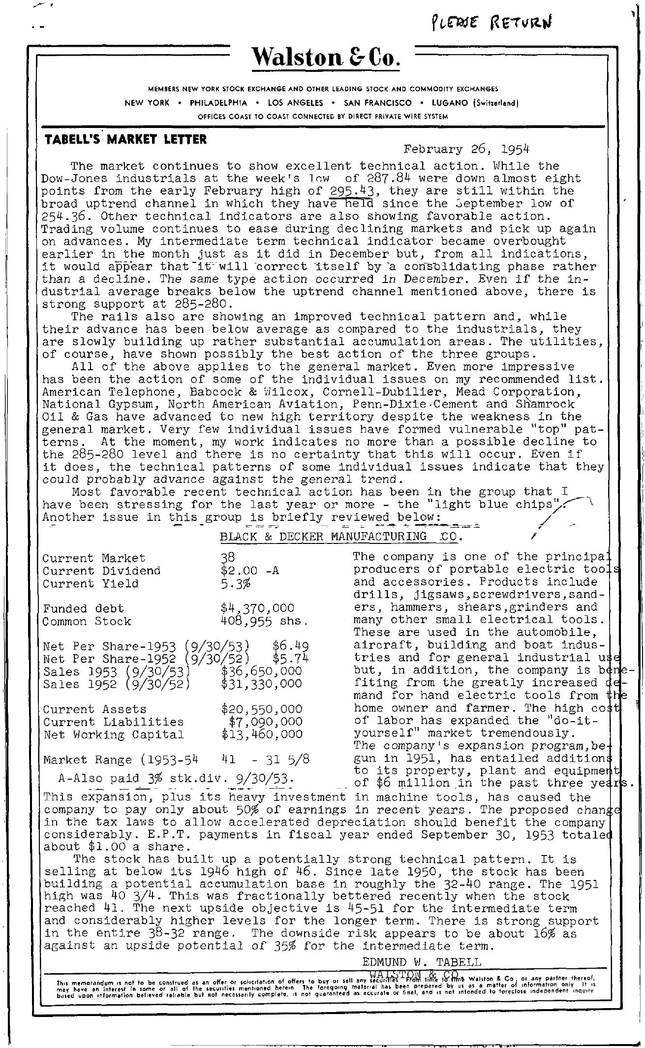 Tabell's Market Letter - February 26, 1954
