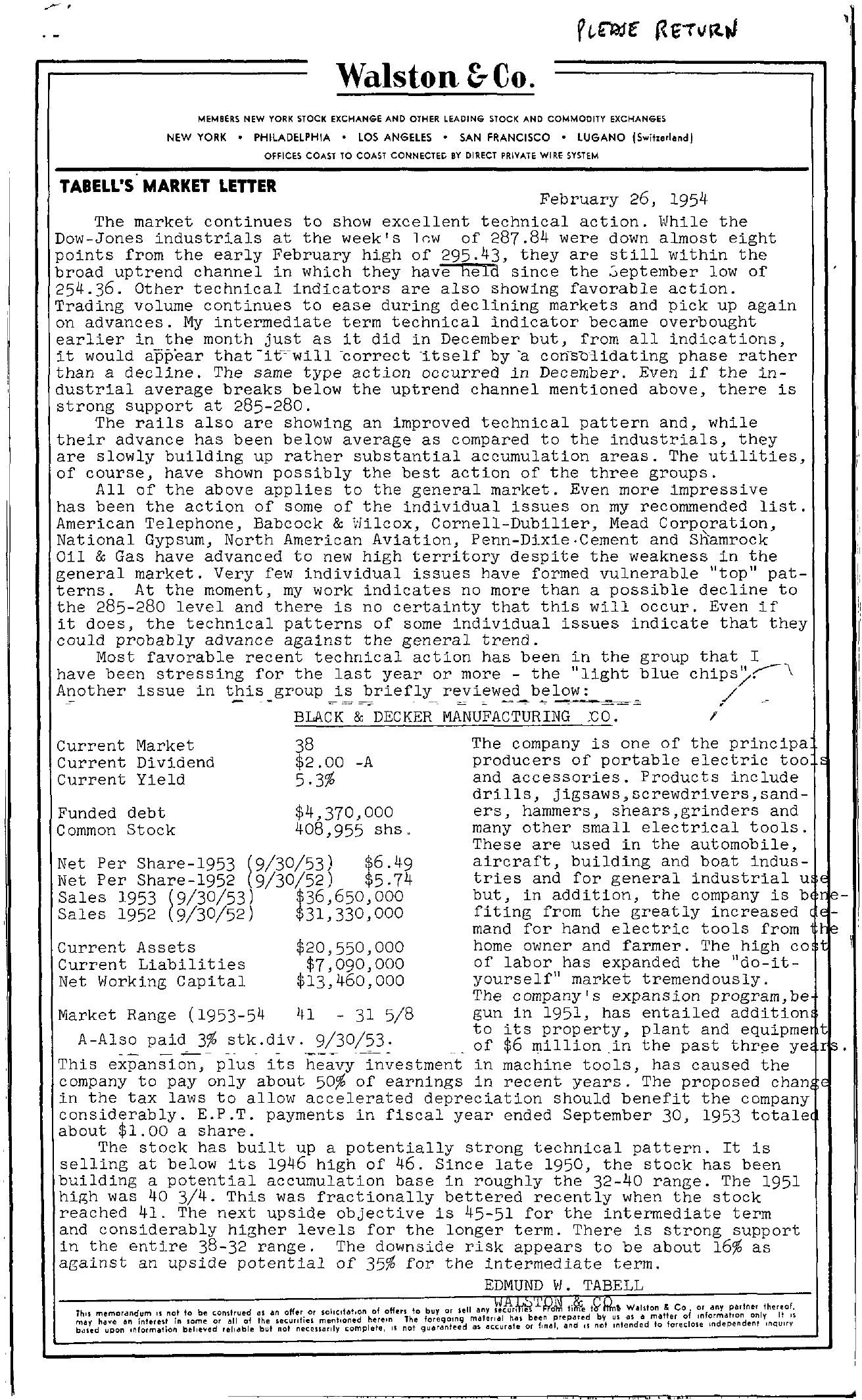 Tabell's Market Letter - February 26, 1954 page 1