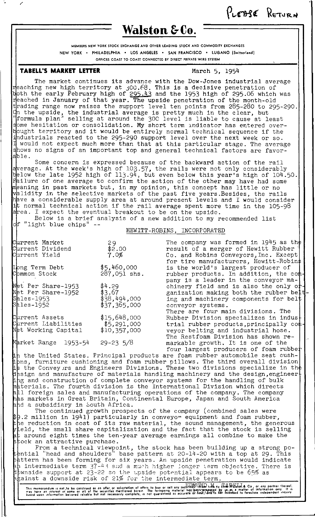 Tabell's Market Letter - March 05, 1954