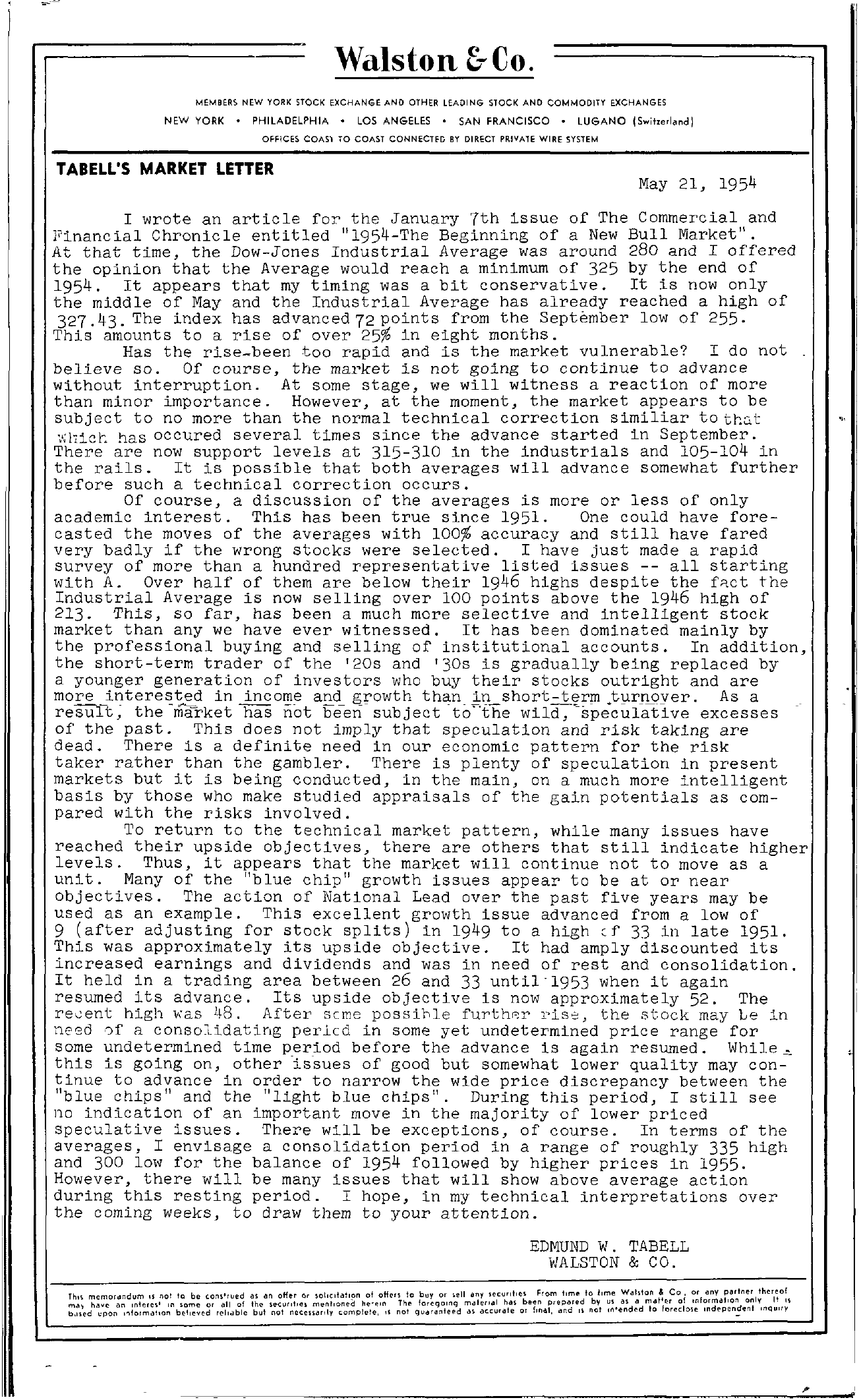 Tabell's Market Letter - May 21, 1954