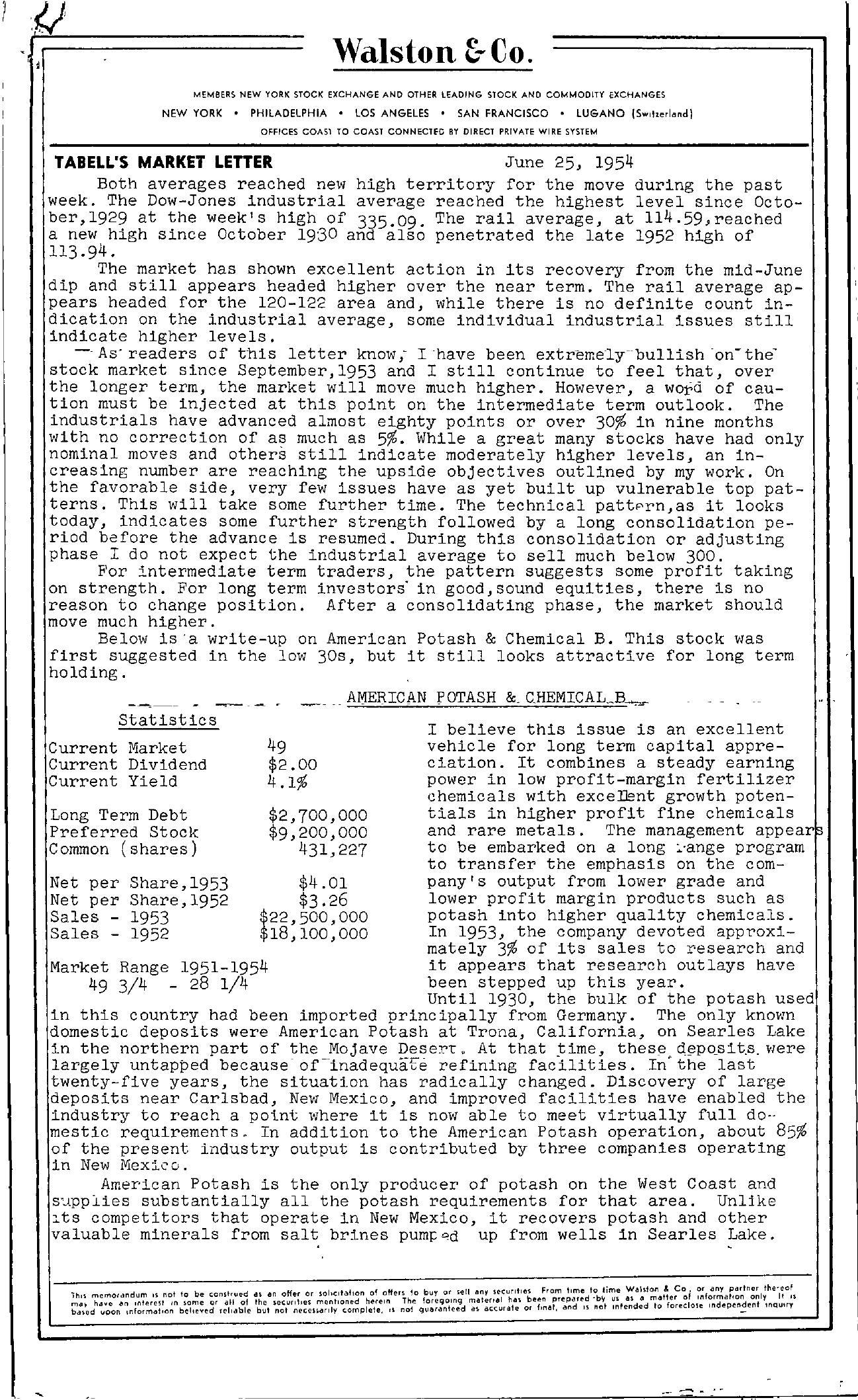 Tabell's Market Letter - June 25, 1954 page 1