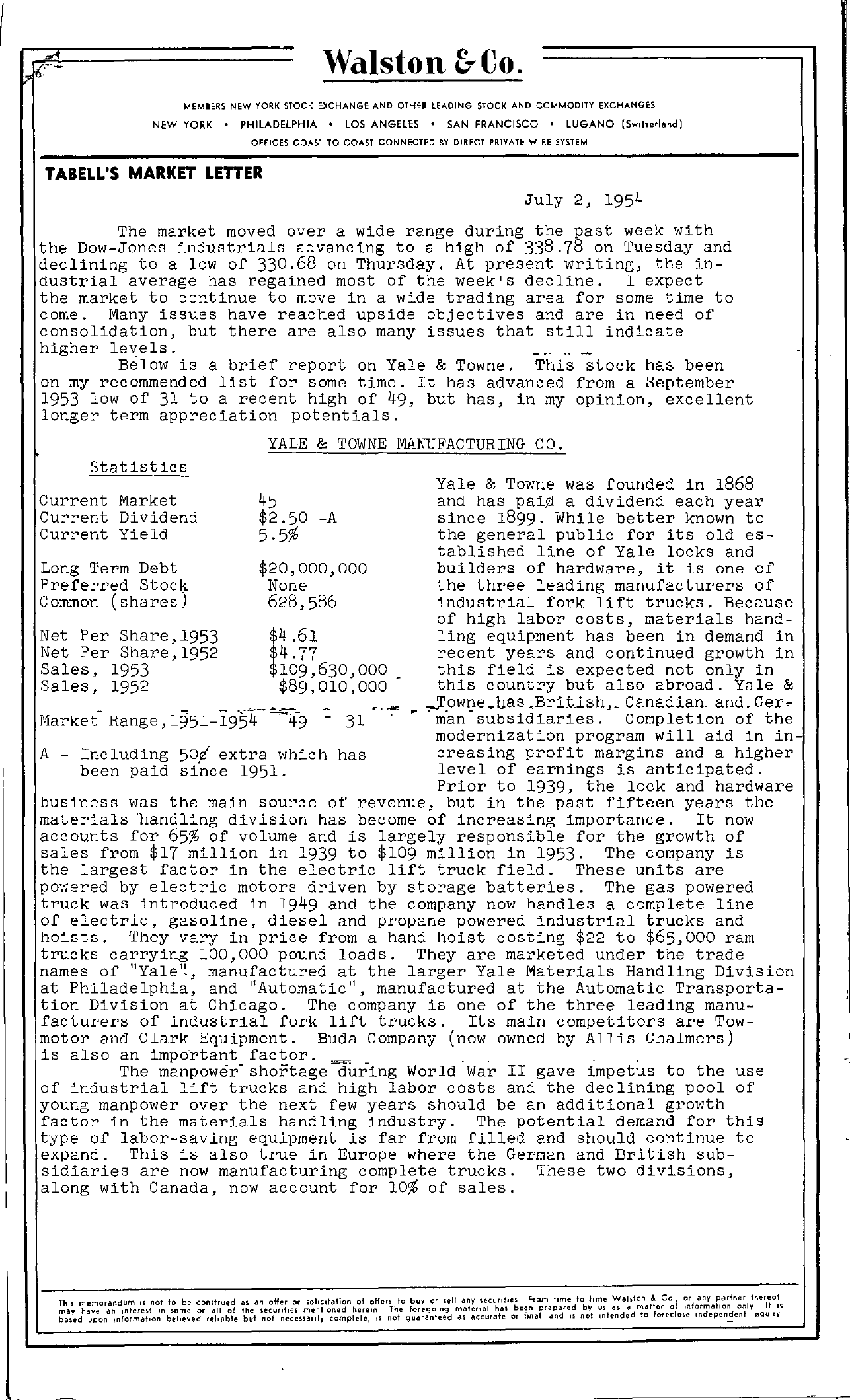 Tabell's Market Letter - July 02, 1954 page 1