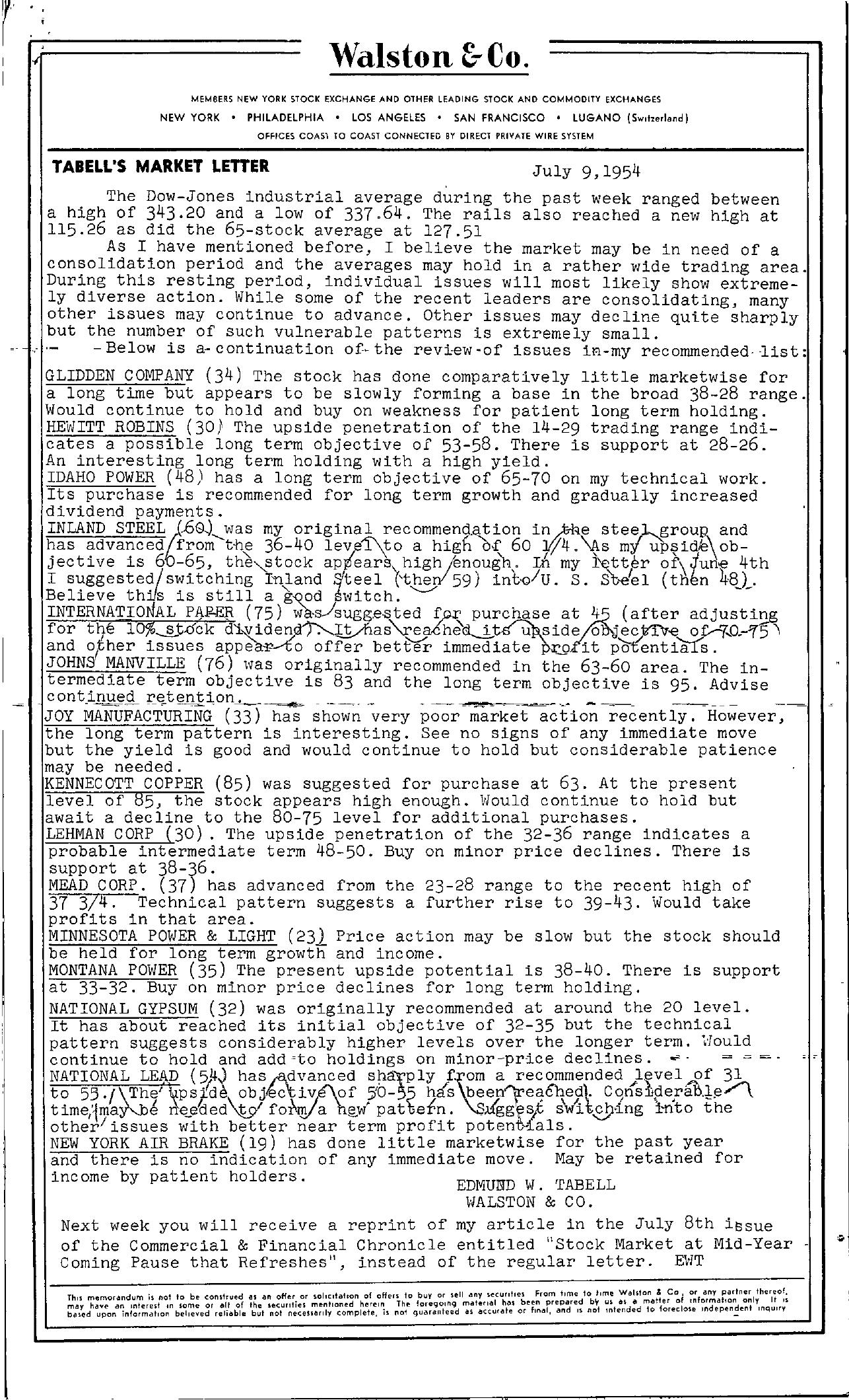 Tabell's Market Letter - July 09, 1954