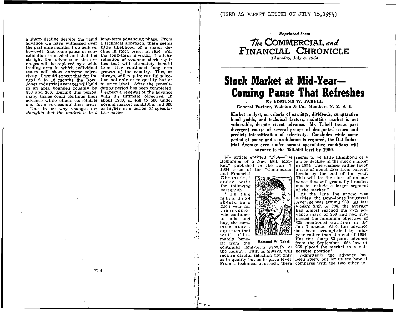 Tabell's Market Letter - July 16, 1954 page 1