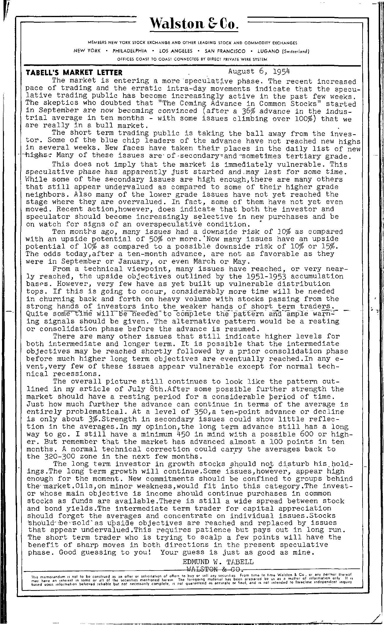 Tabell's Market Letter - August 06, 1954