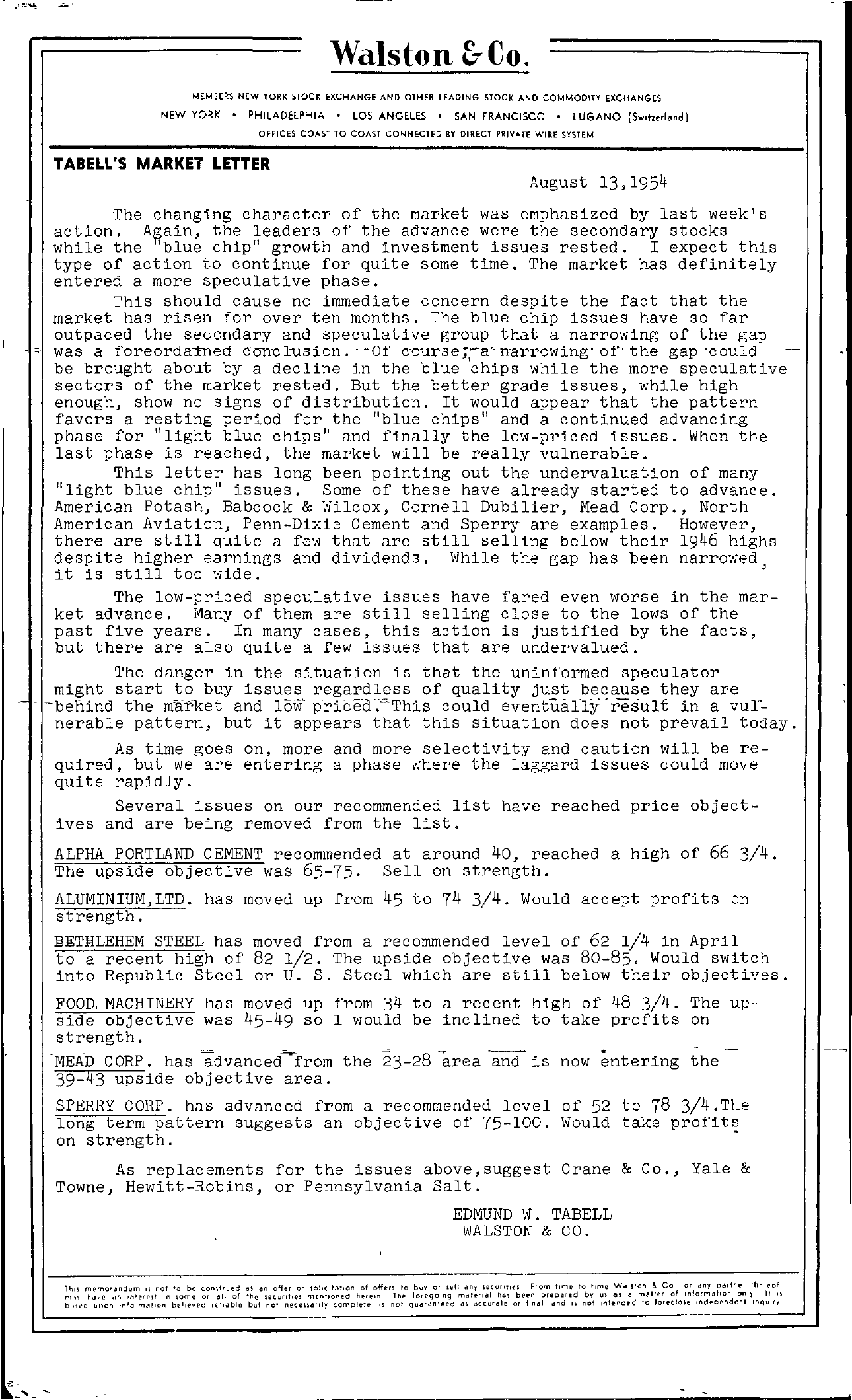 Tabell's Market Letter - August 13, 1954