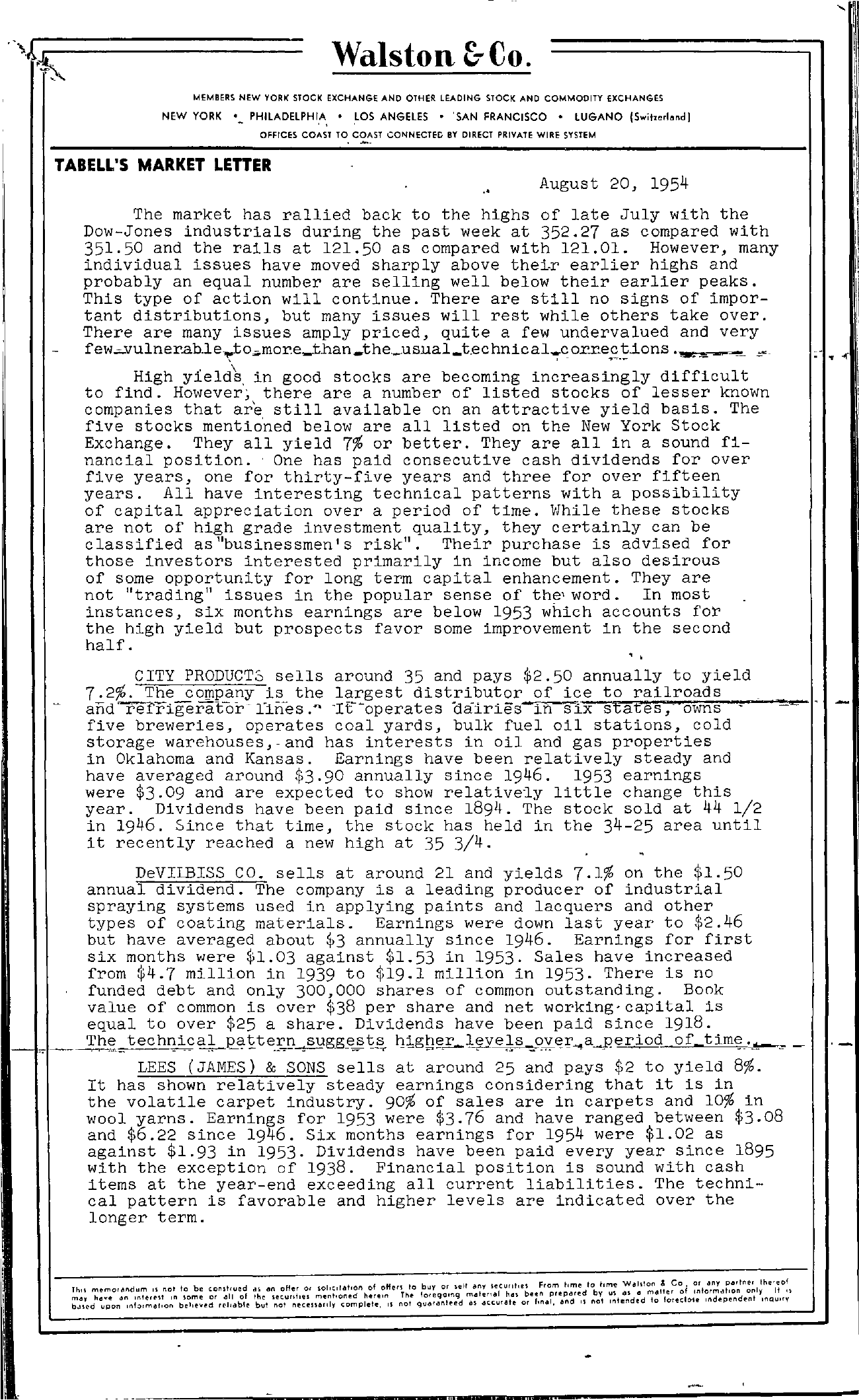 Tabell's Market Letter - August 20, 1954 page 1