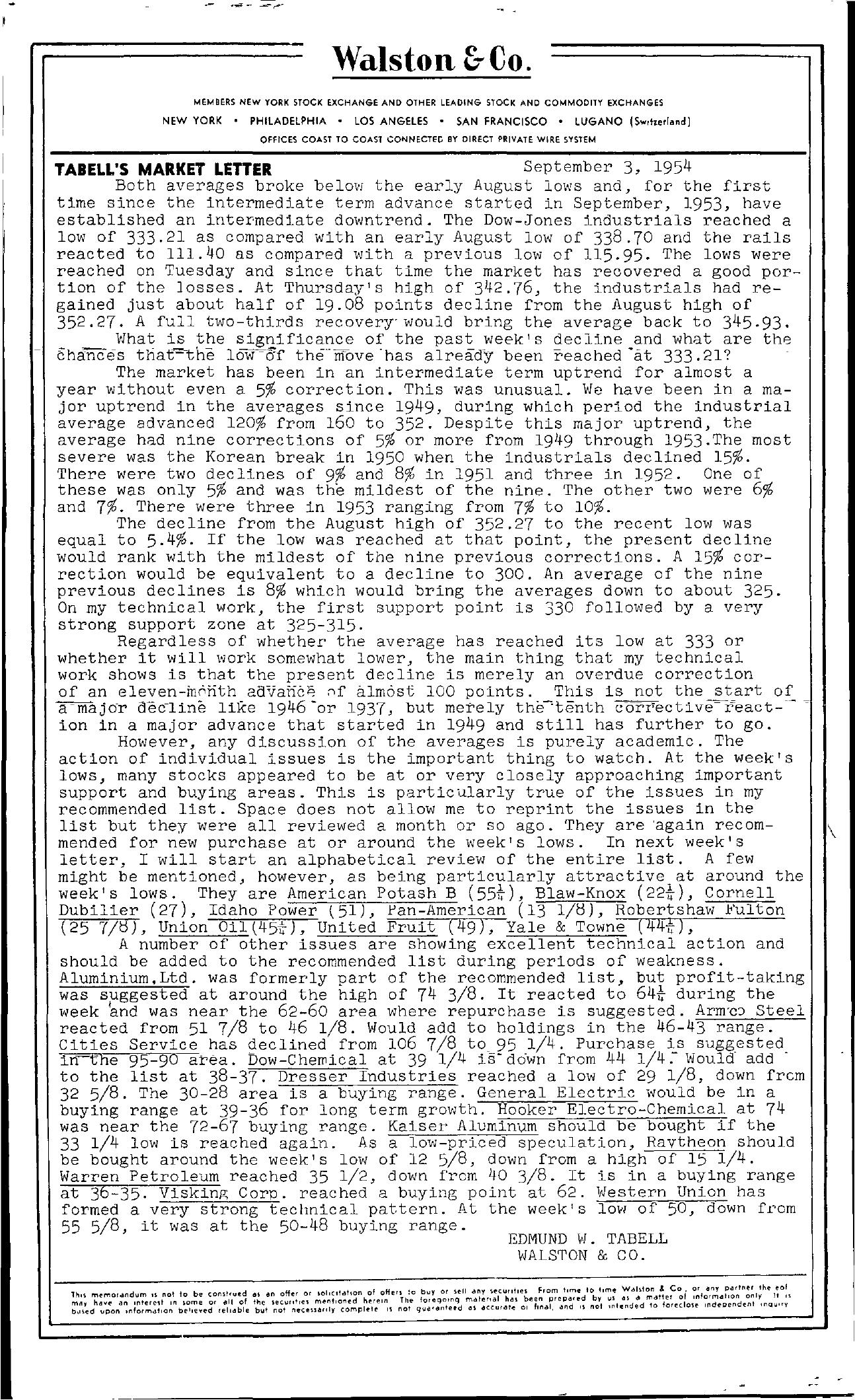 Tabell's Market Letter - September 03, 1954