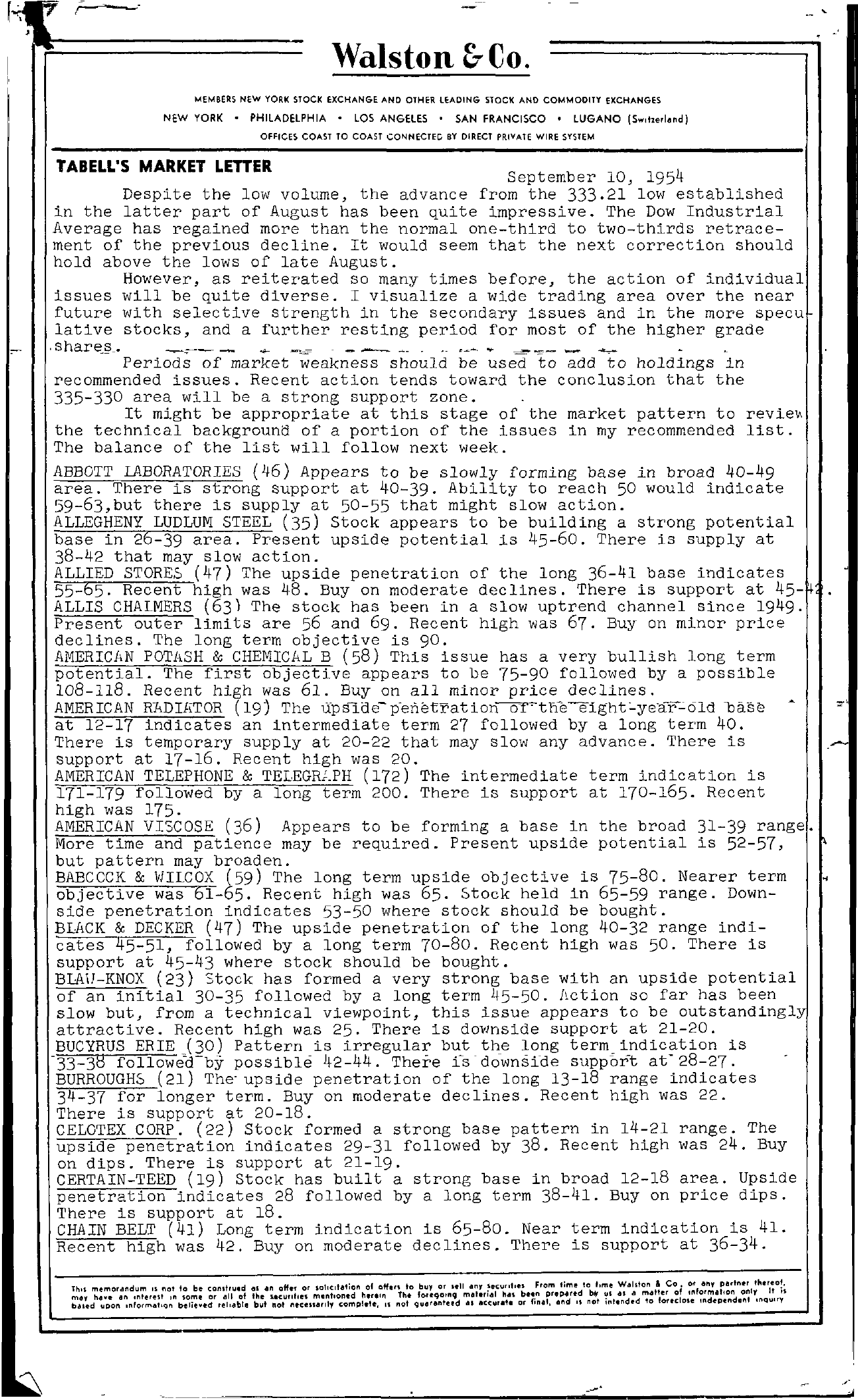 Tabell's Market Letter - September 10, 1954 page 1