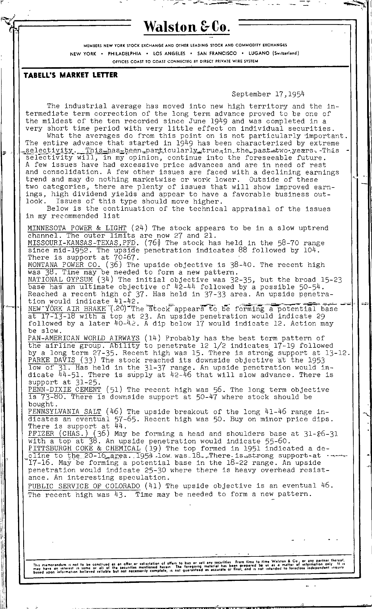 Tabell's Market Letter - September 17, 1954 page 1