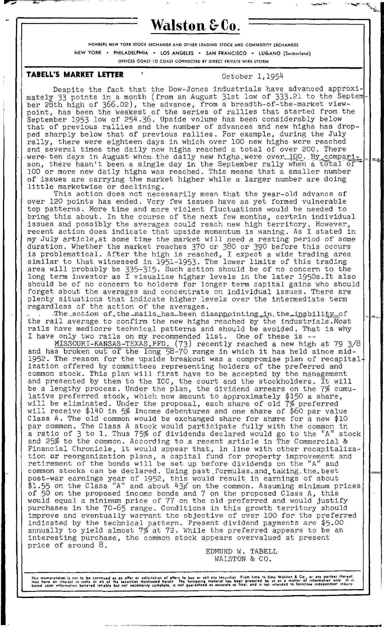 Tabell's Market Letter - October 01, 1954