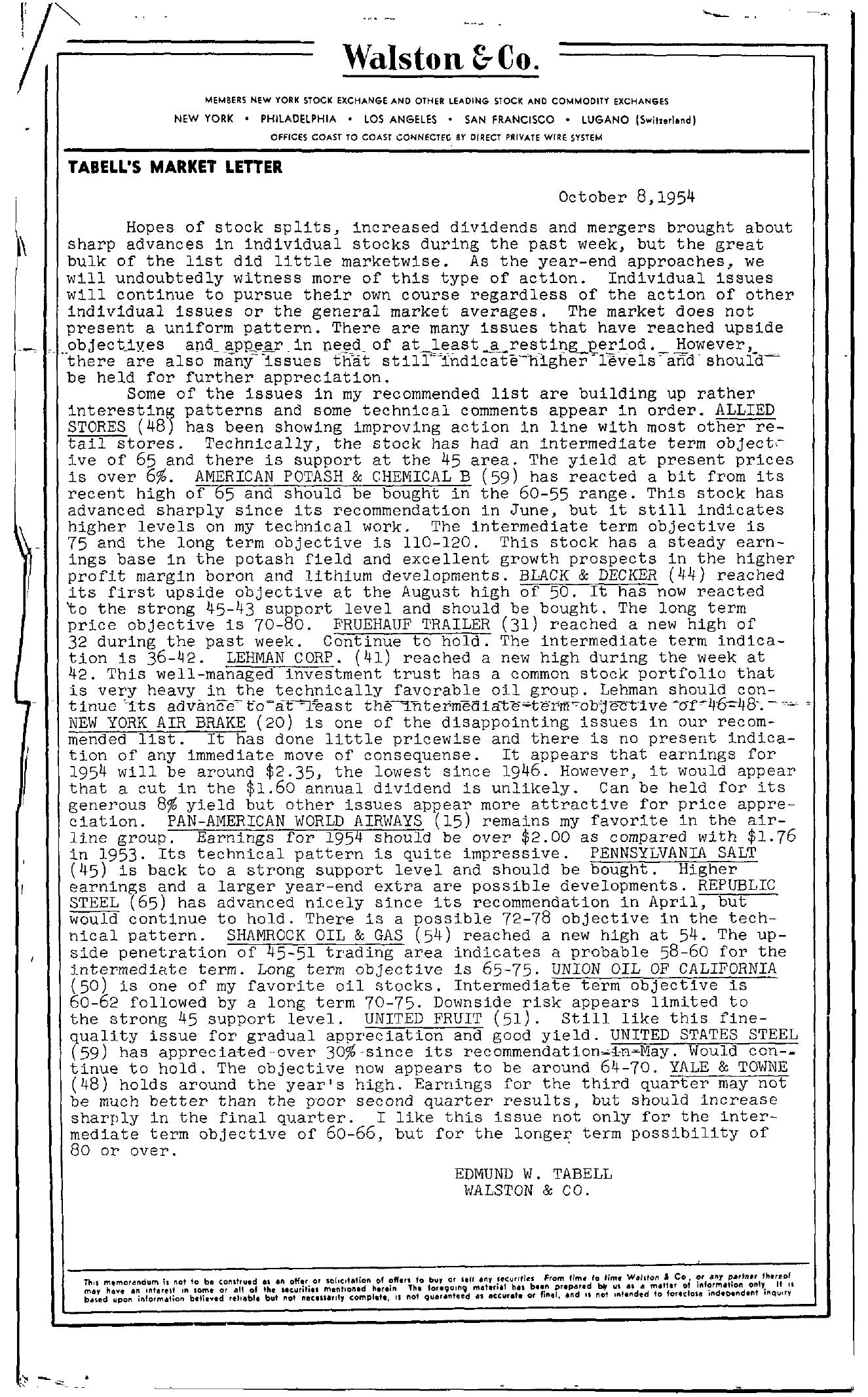 Tabell's Market Letter - October 08, 1954