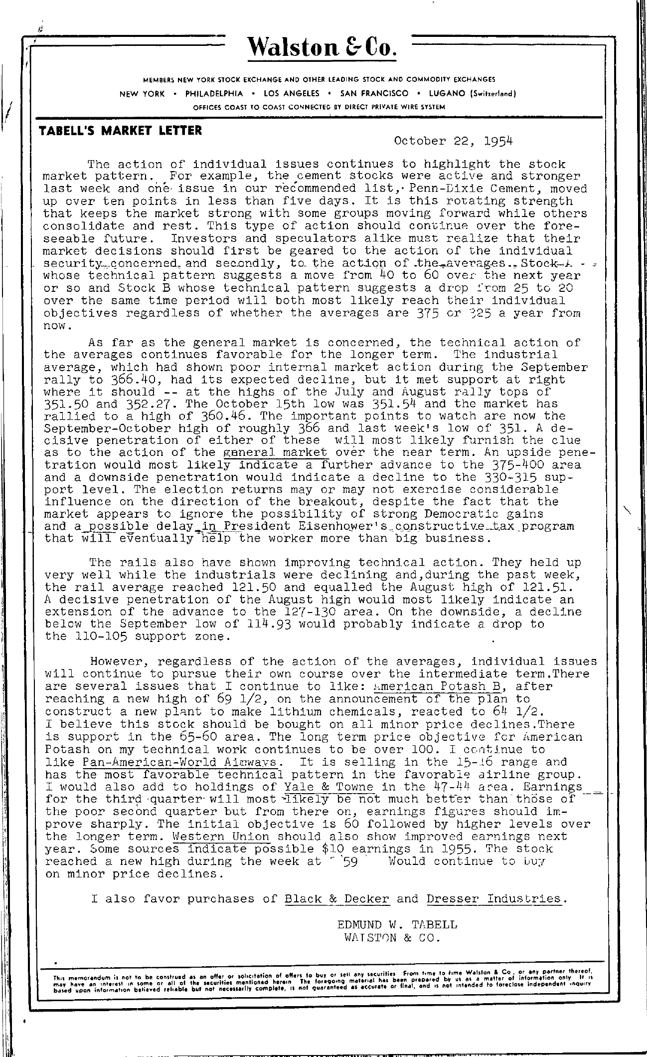 Tabell's Market Letter - October 22, 1954