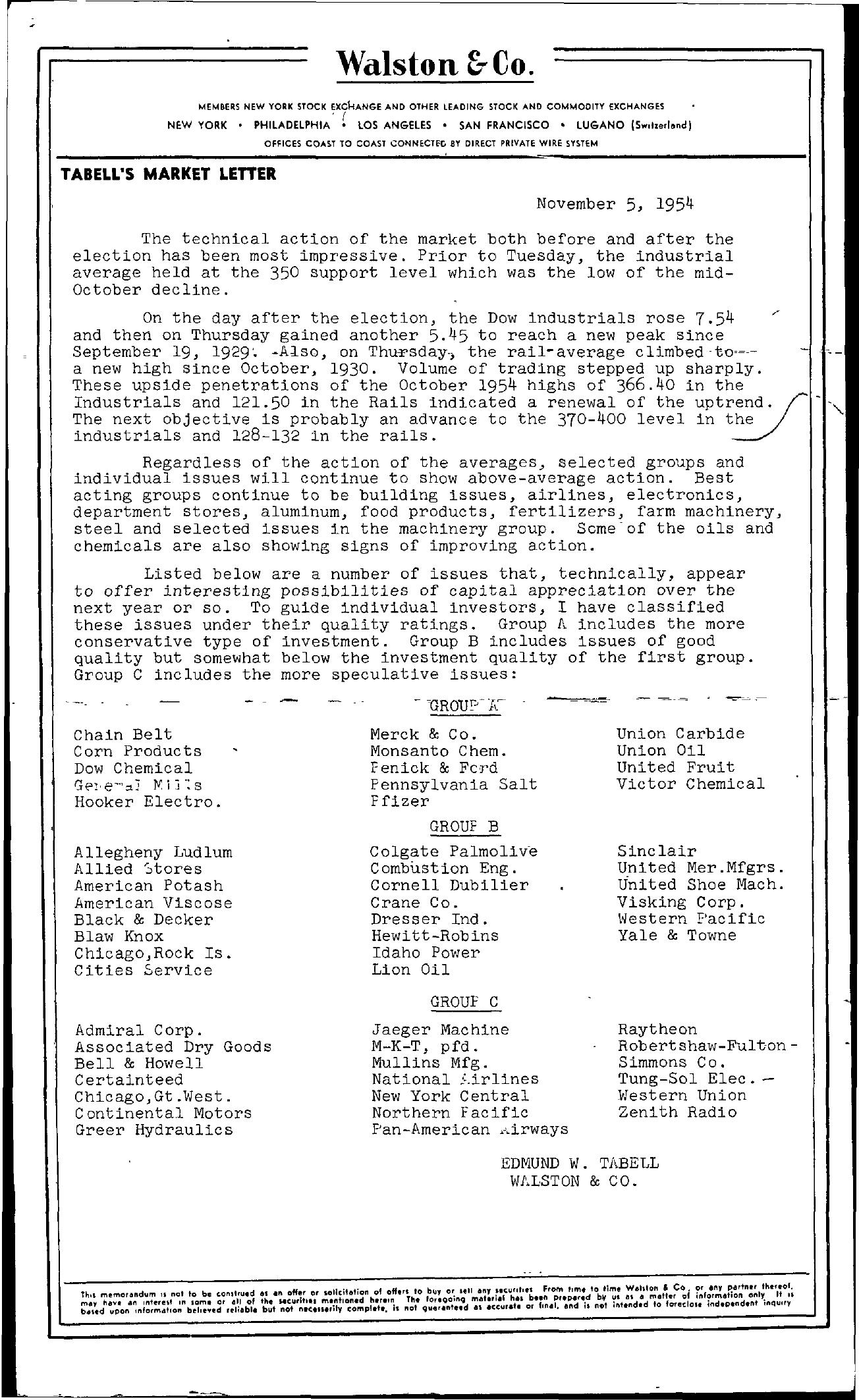 Tabell's Market Letter - November 05, 1954
