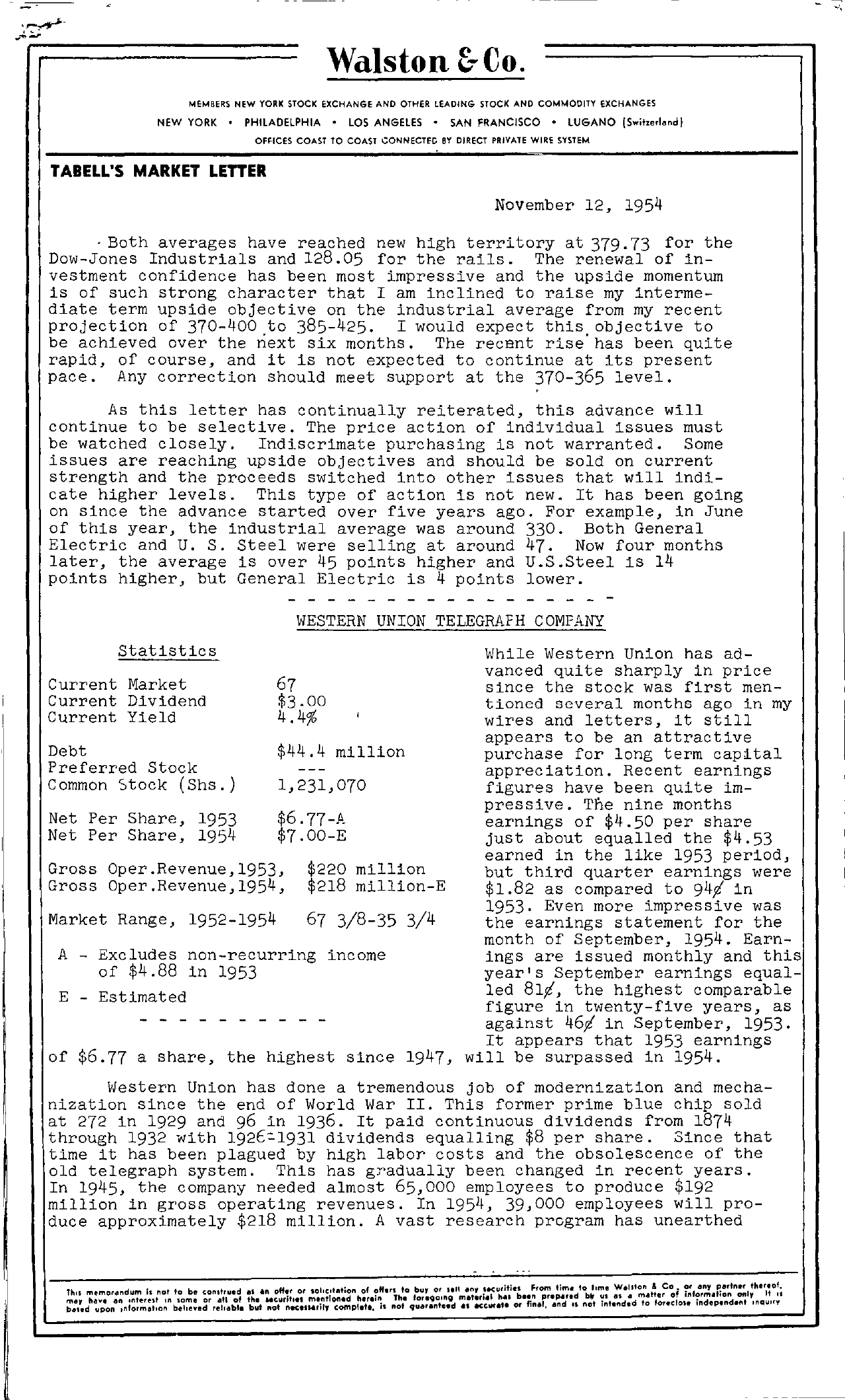 Tabell's Market Letter - November 12, 1954 page 1
