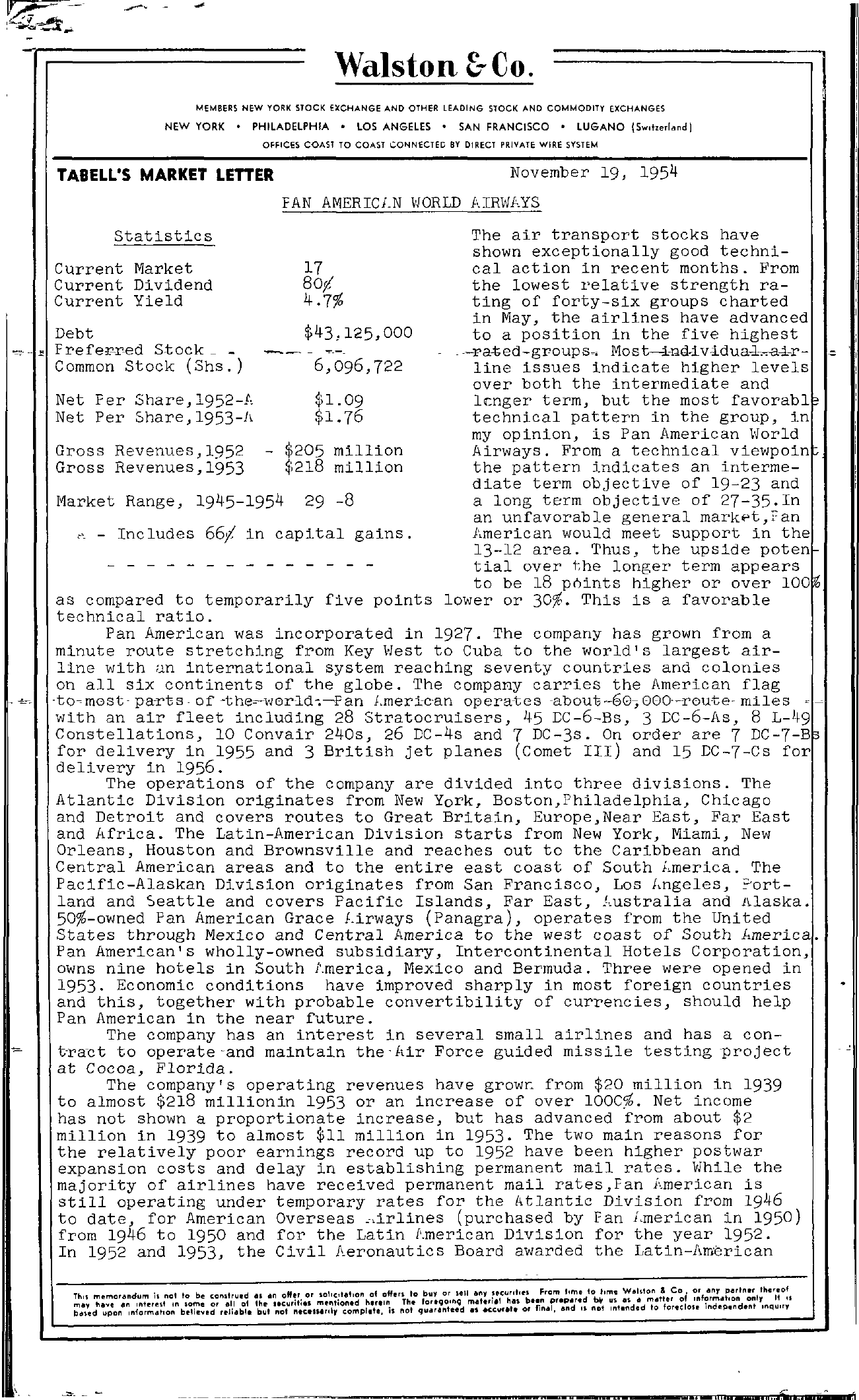 Tabell's Market Letter - November 19, 1954 page 1