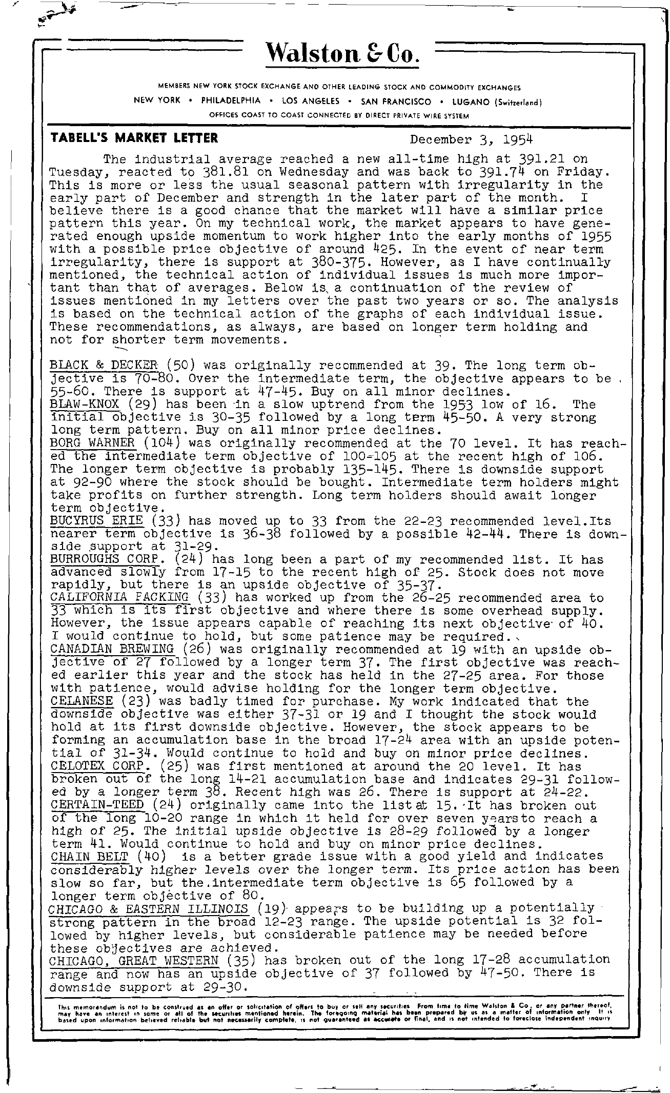 Tabell's Market Letter - December 03, 1954 page 1