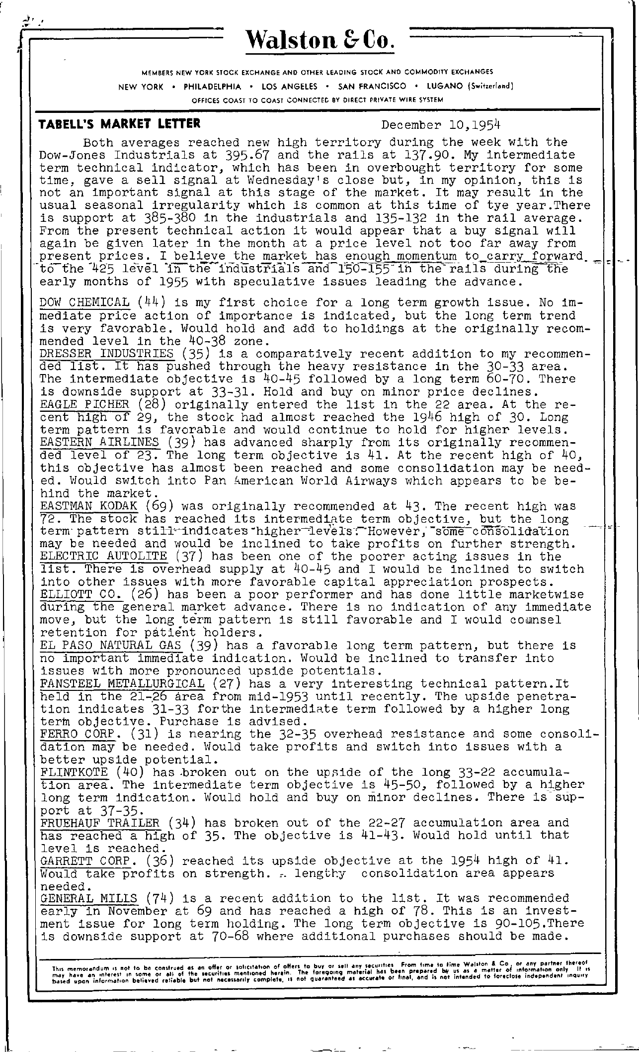 Tabell's Market Letter - December 10, 1954 page 1