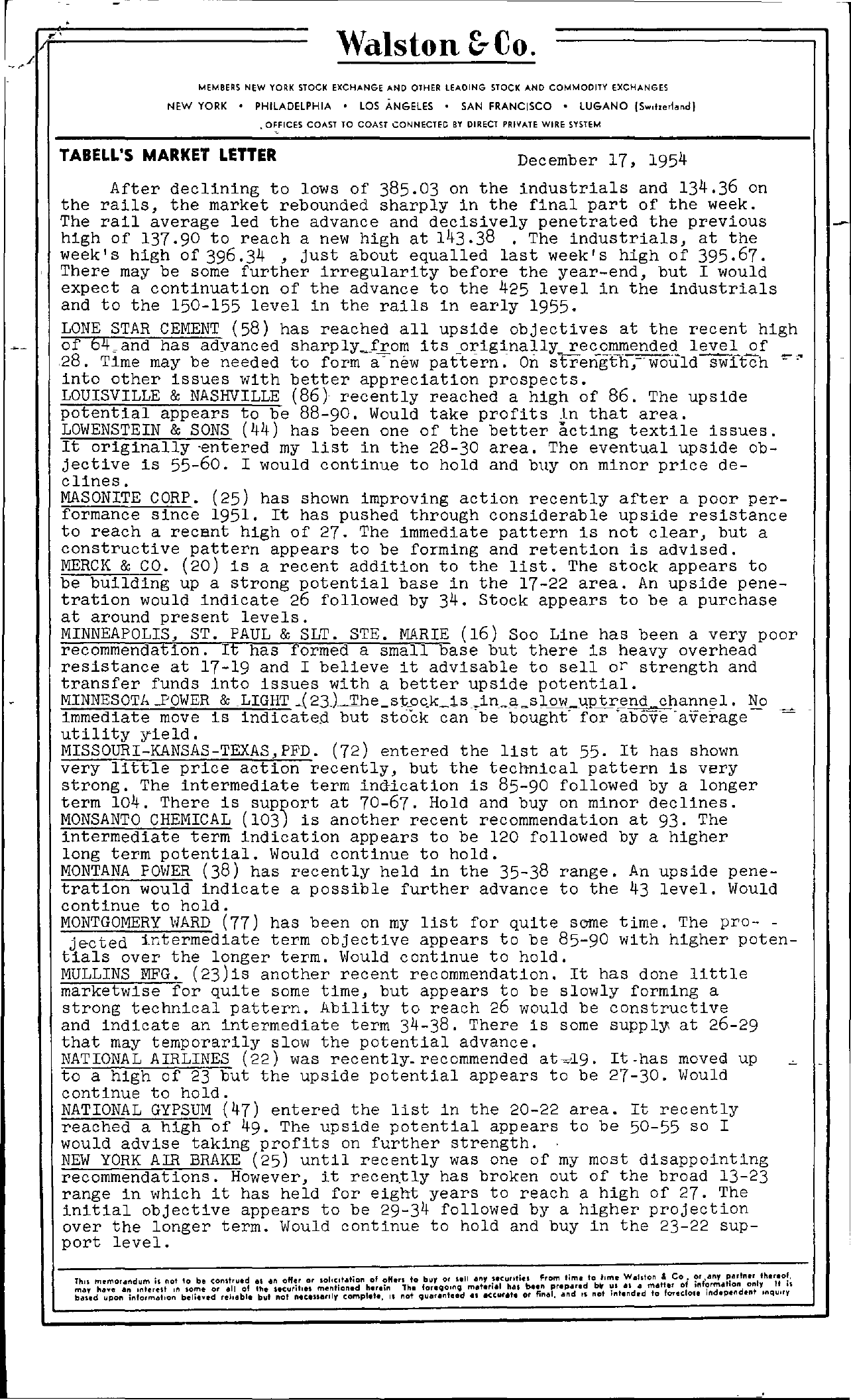 Tabell's Market Letter - December 17, 1954 page 1