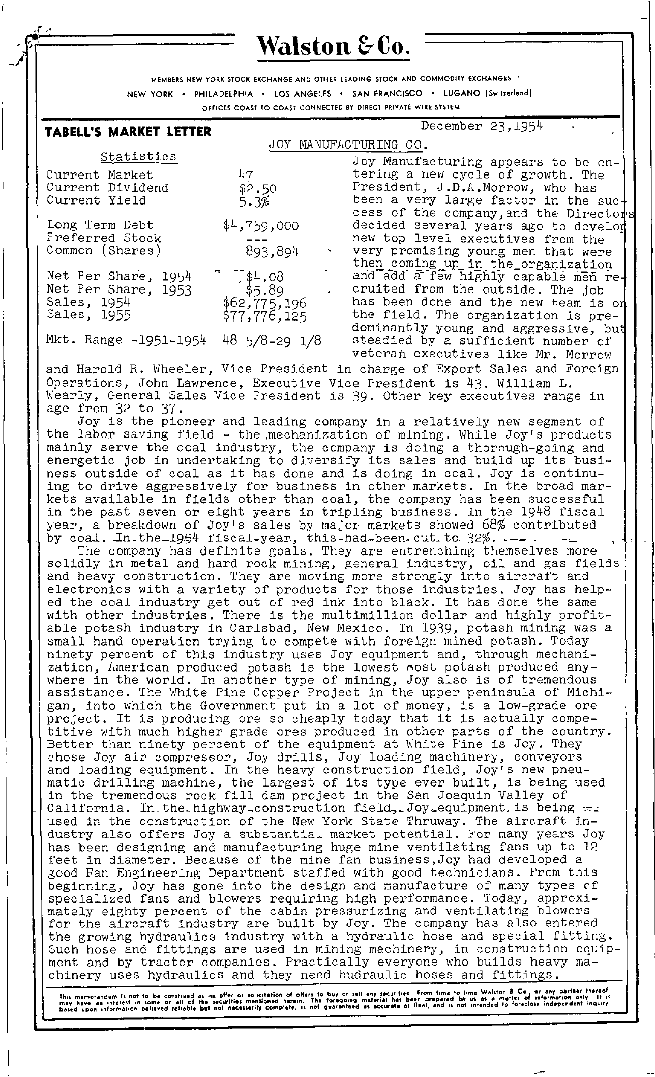 Tabell's Market Letter - December 23, 1954 page 1