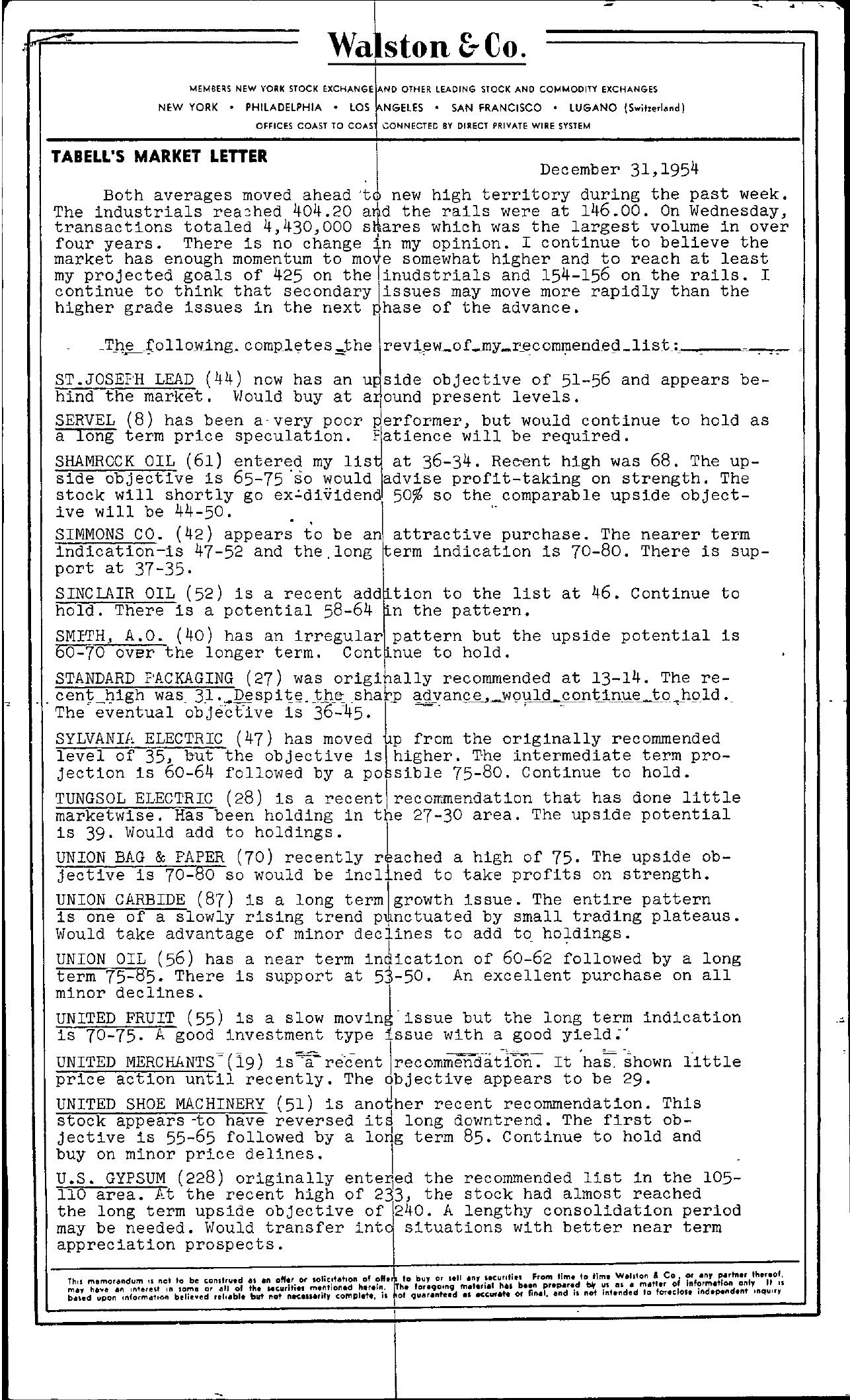 Tabell's Market Letter - December 31, 1954 page 1
