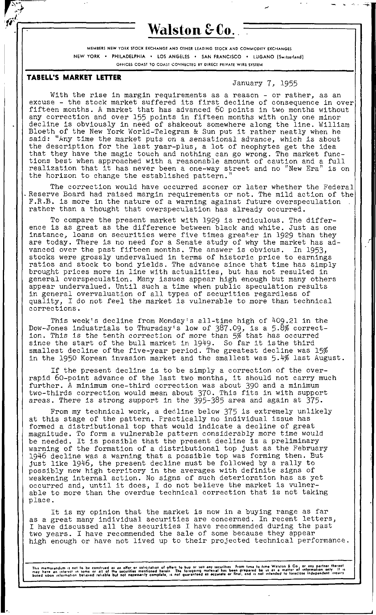Tabell's Market Letter - January 07, 1955 page 1