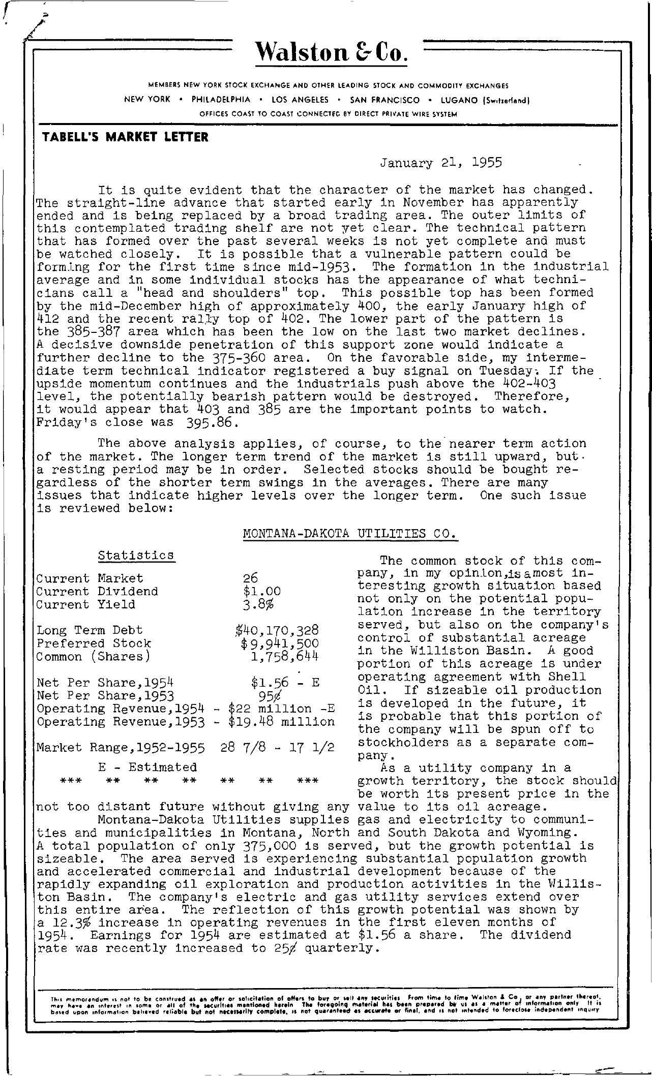 Tabell's Market Letter - January 21, 1955 page 1