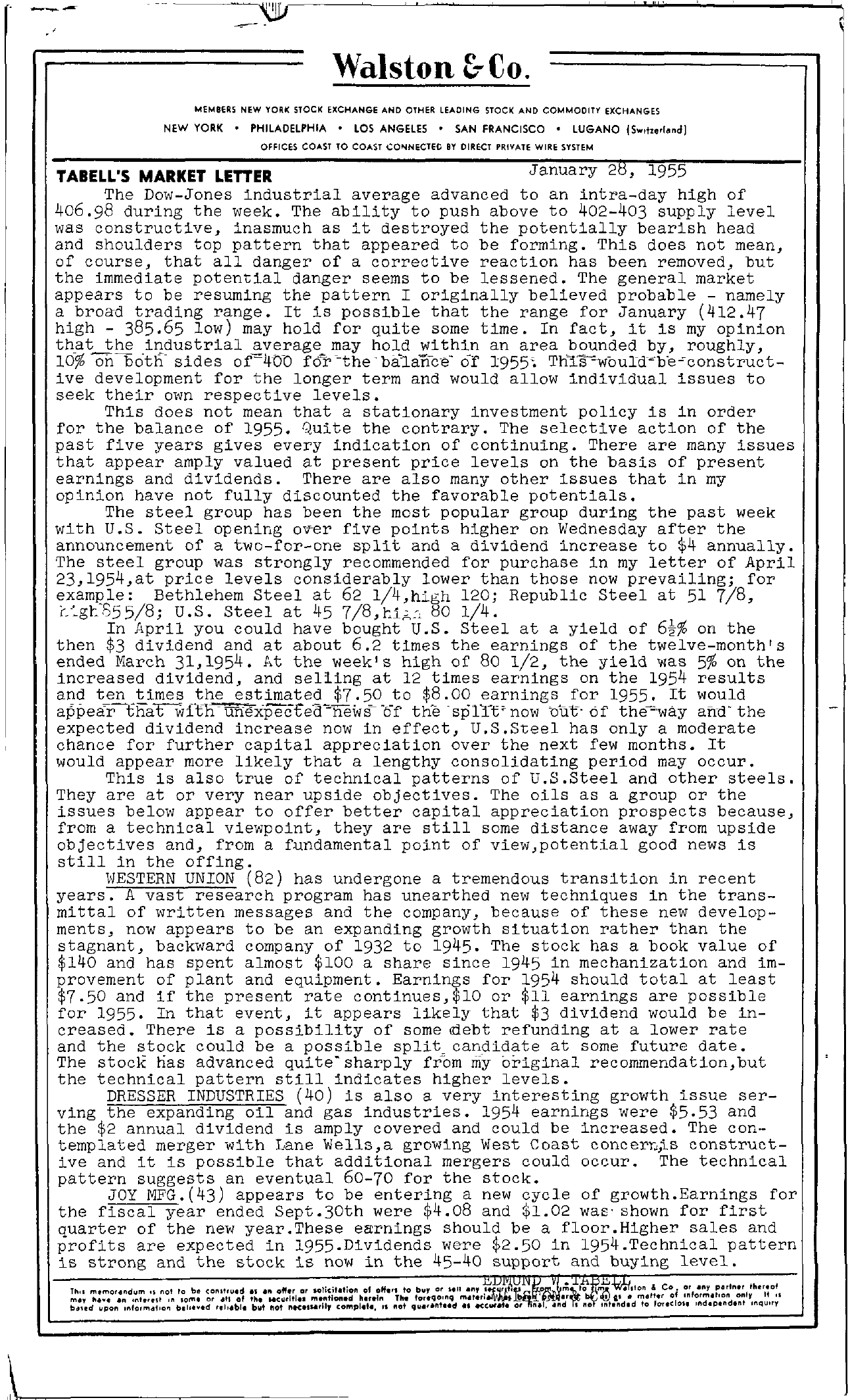 Tabell's Market Letter - January 28, 1955 page 1