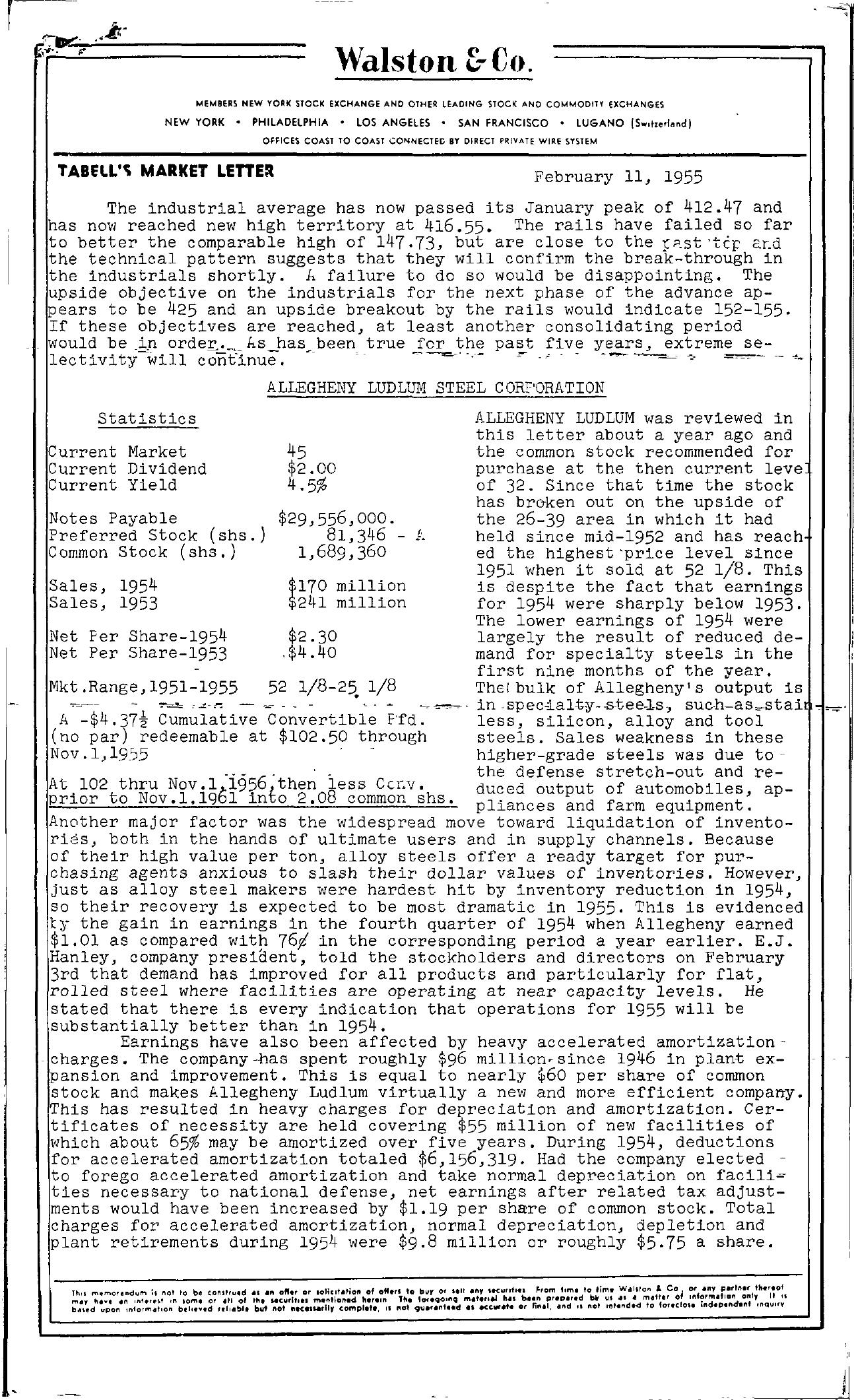 Tabell's Market Letter - February 11, 1955