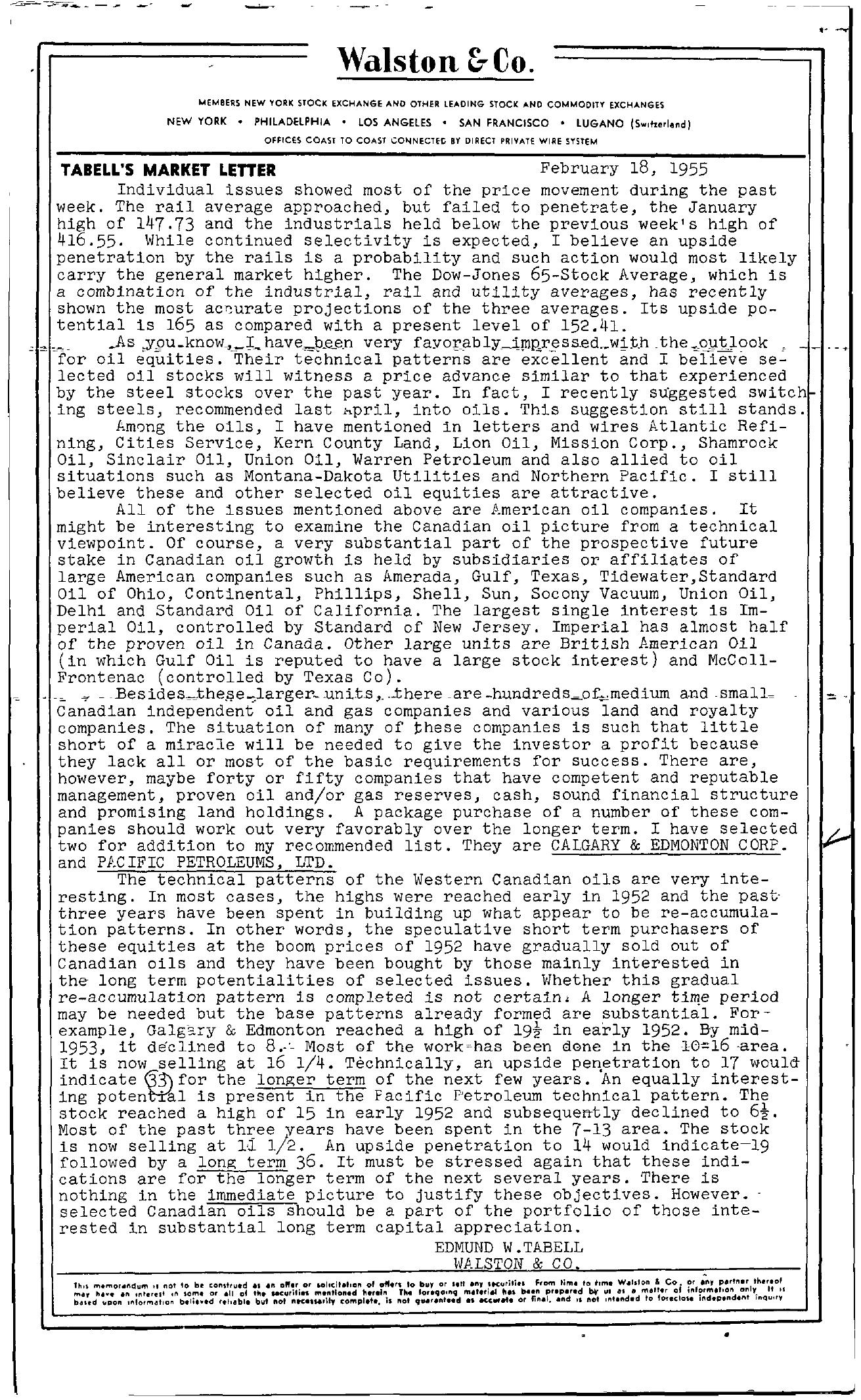 Tabell's Market Letter - February 18, 1955