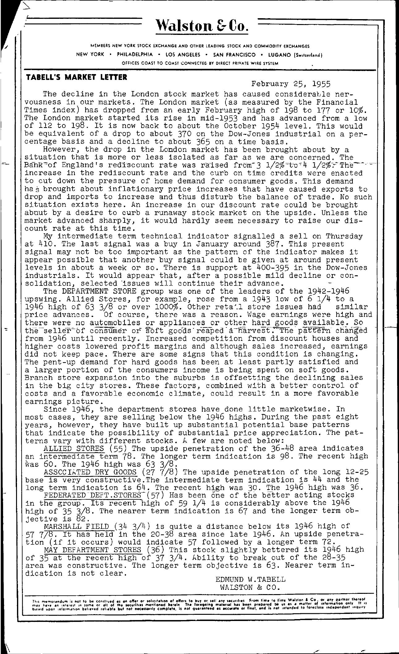 Tabell's Market Letter - February 25, 1955