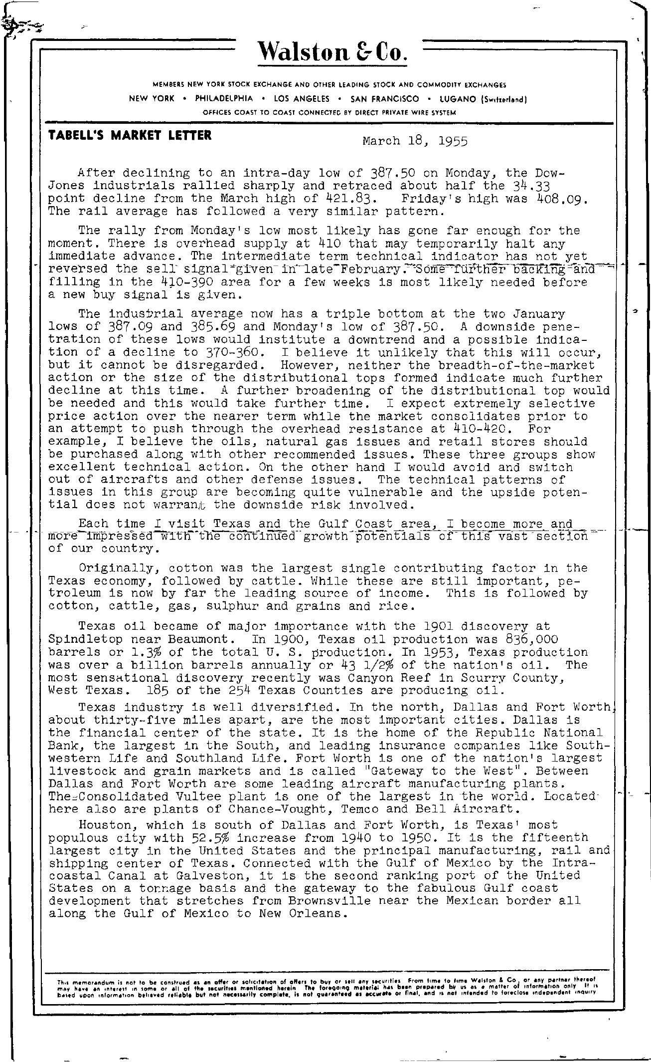 Tabell's Market Letter - March 18, 1955 page 1