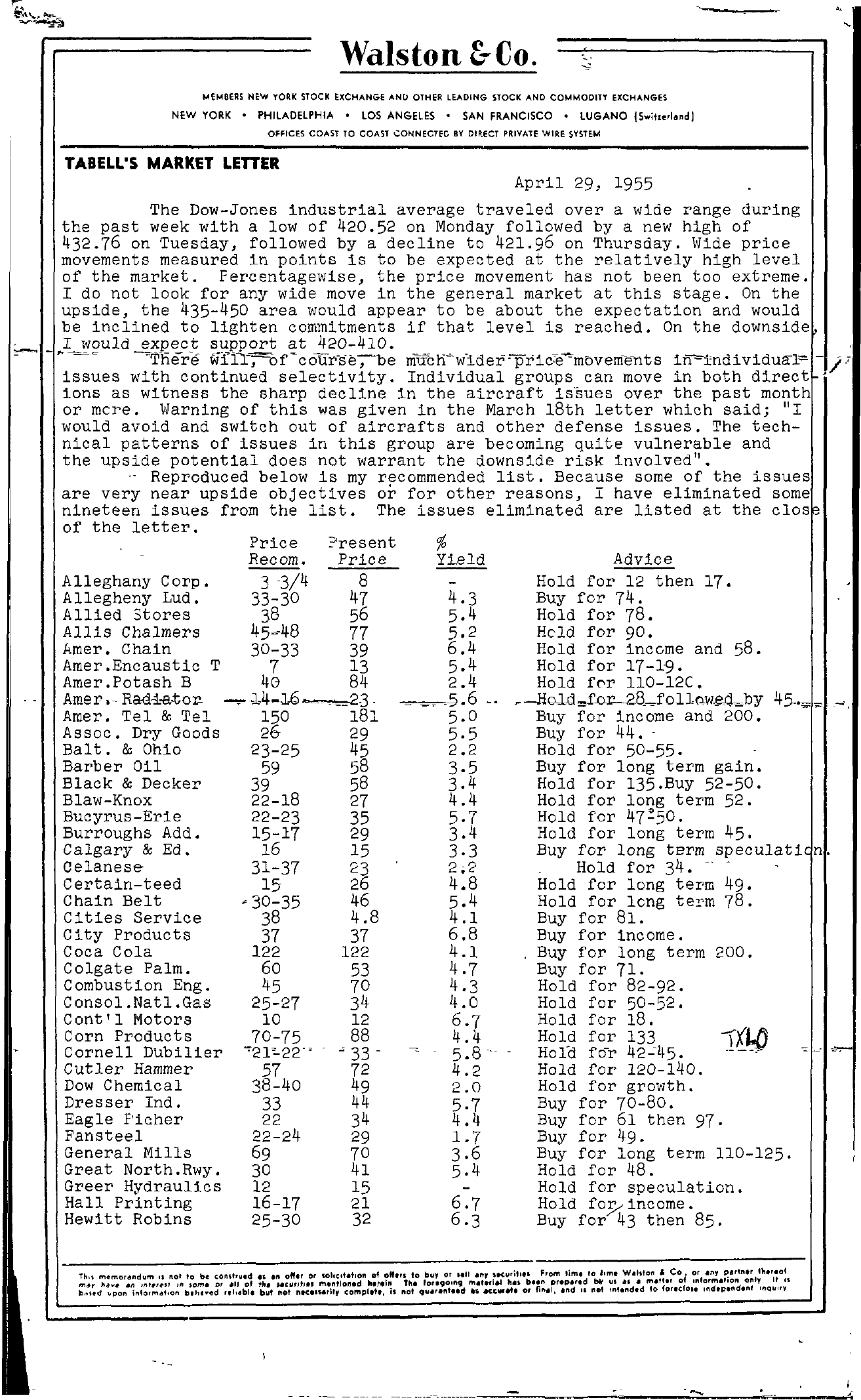 Tabell's Market Letter - April 29, 1955 page 1
